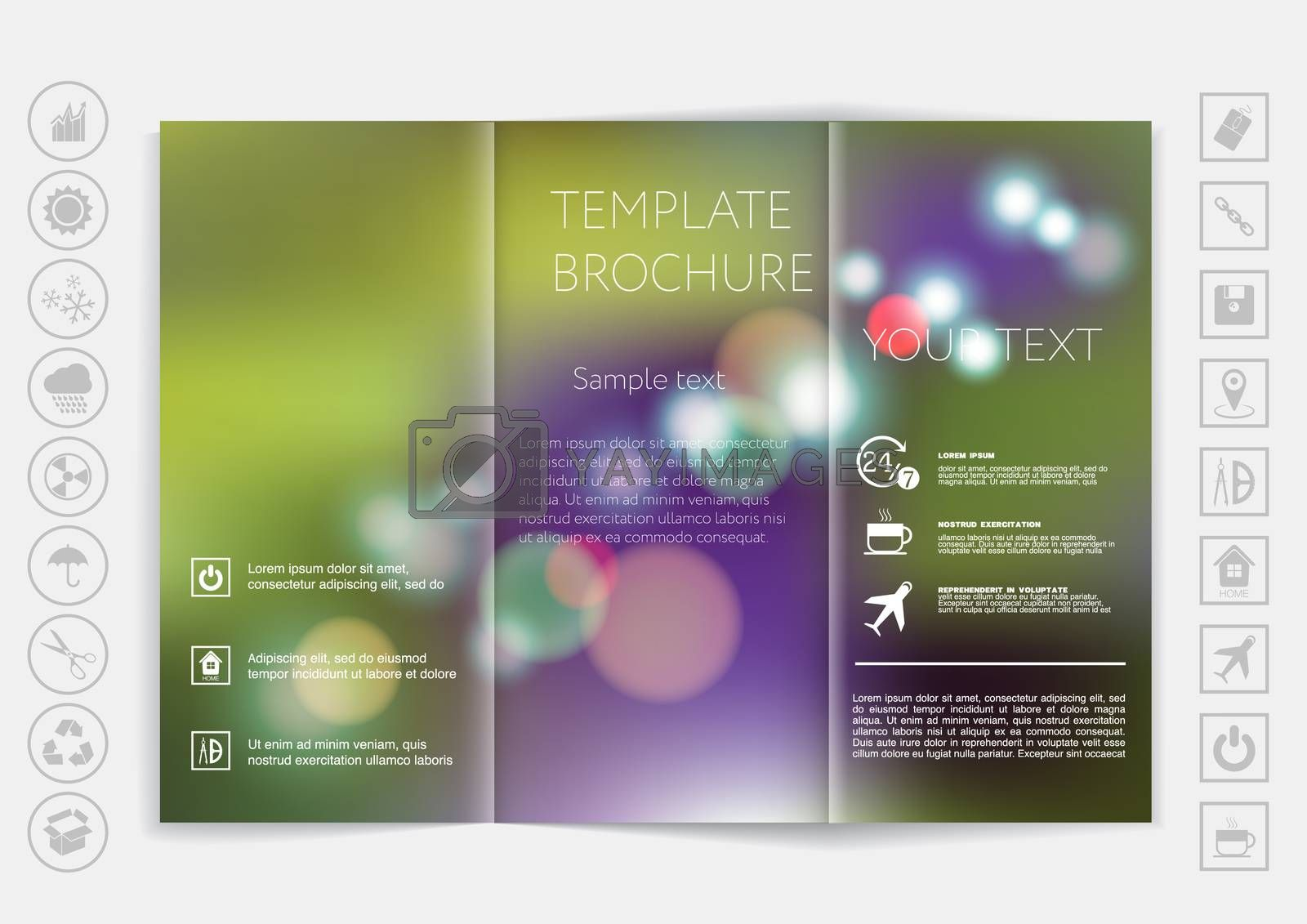 Tri-Fold Brochure mock up vector design. Smooth unfocused bokeh background. Corporate Business Style