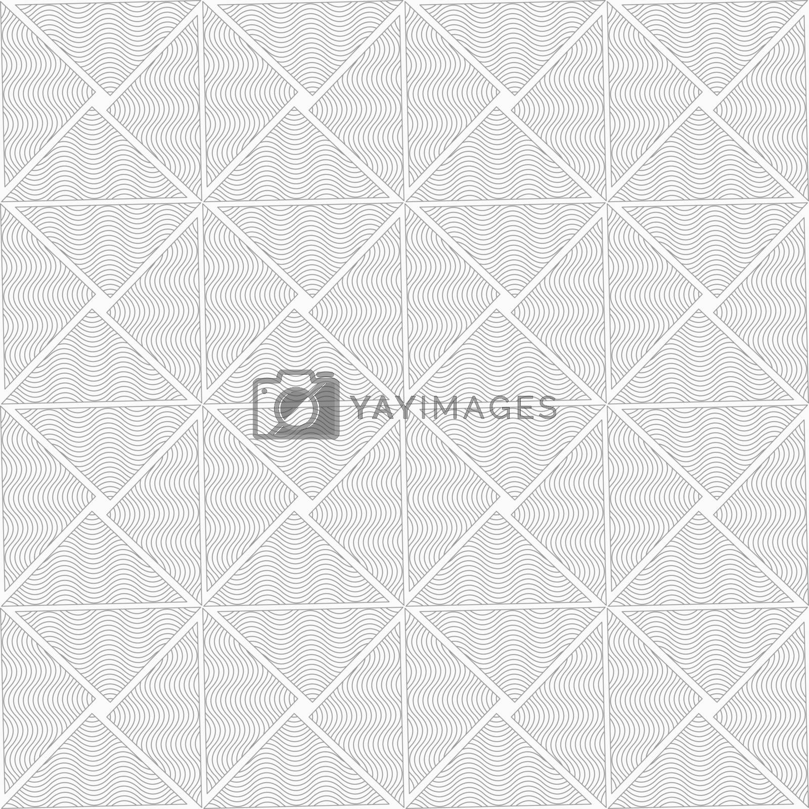 Gray seamless geometrical pattern. Simple monochrome texture. Abstract background.Slim gray wavy striped triangles.