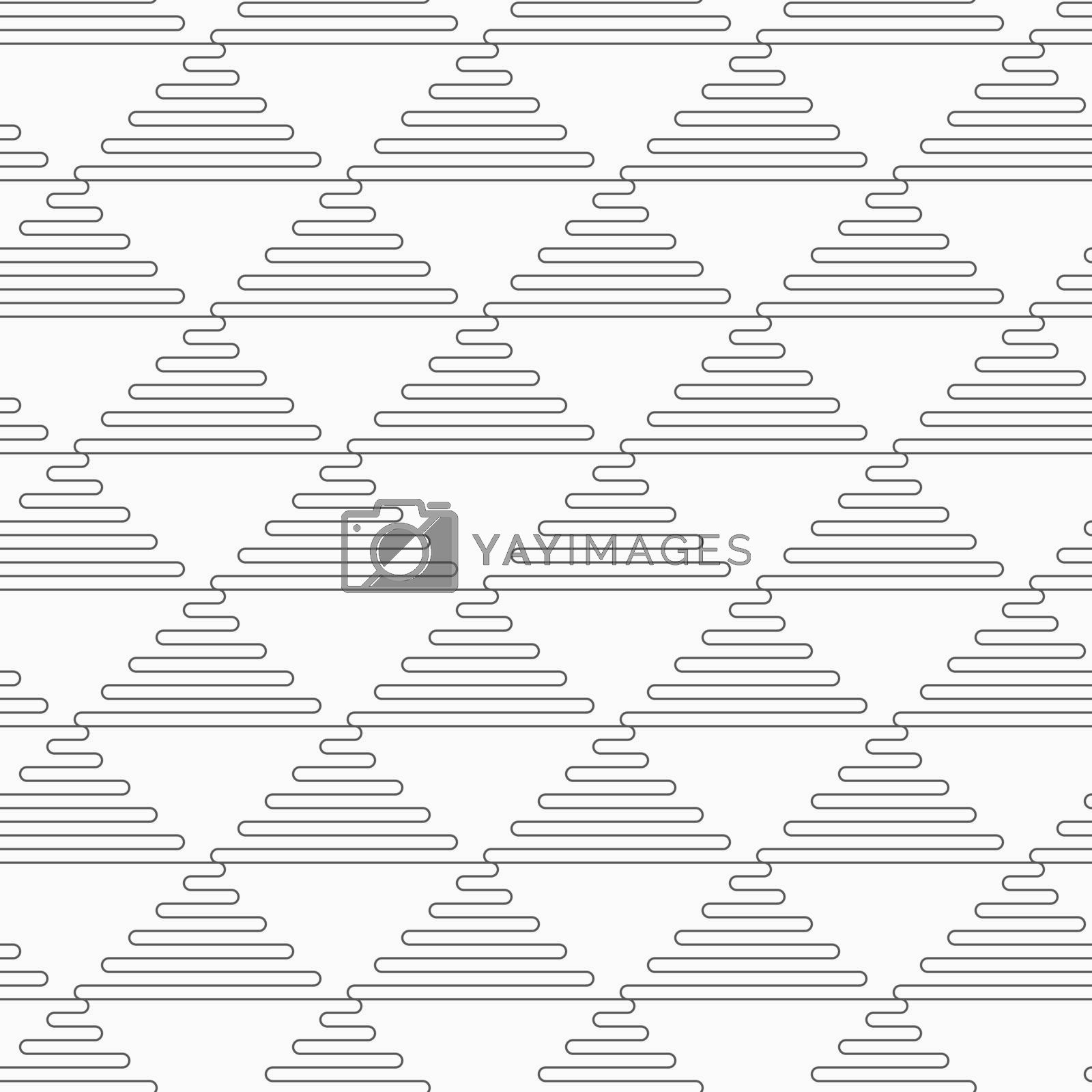 Gray seamless geometrical pattern. Simple monochrome texture. Abstract background.Slim gray wavy triangles.