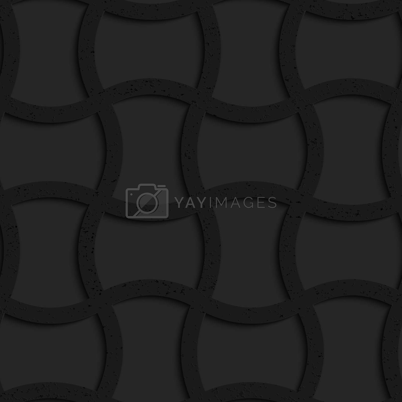Seamless geometric background. Pattern with 3D texture and realistic shadow.Textured black plastic arched rectangles grid.