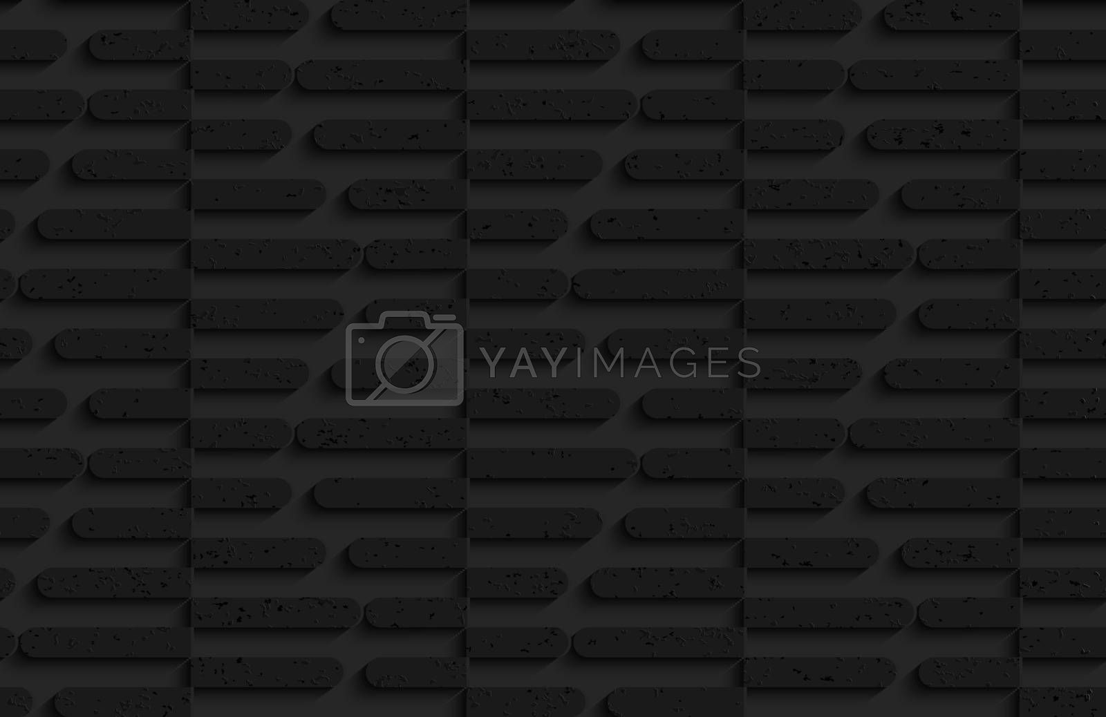 Seamless geometric background. Pattern with 3D texture and realistic shadow.Textured black plastic cut in half hexagons.