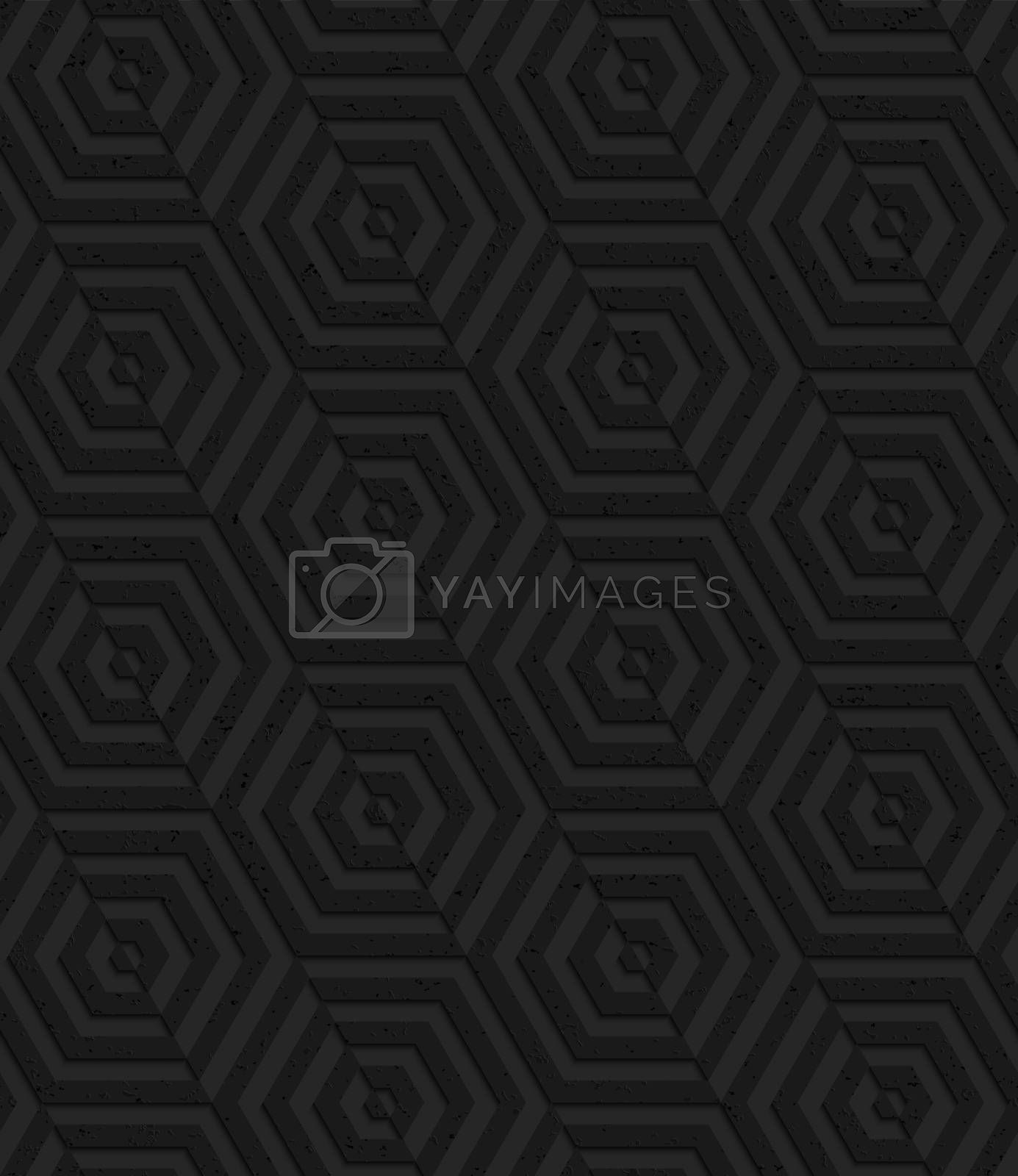 Seamless geometric background. Pattern with 3D texture and realistic shadow.Textured black plastic diagonally cut hexagons.