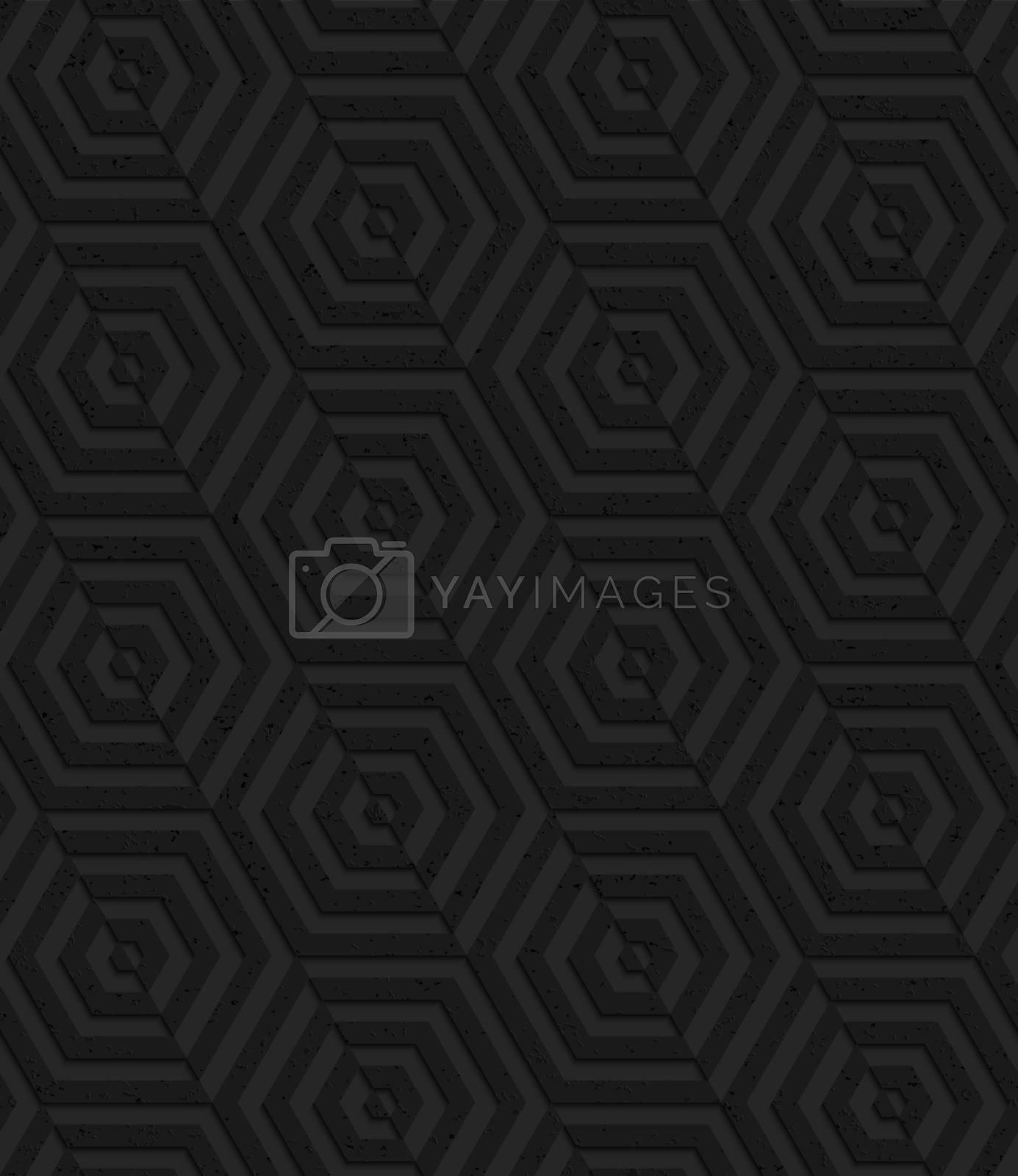 Textured black plastic diagonally cut hexagons by Zebra-Finch