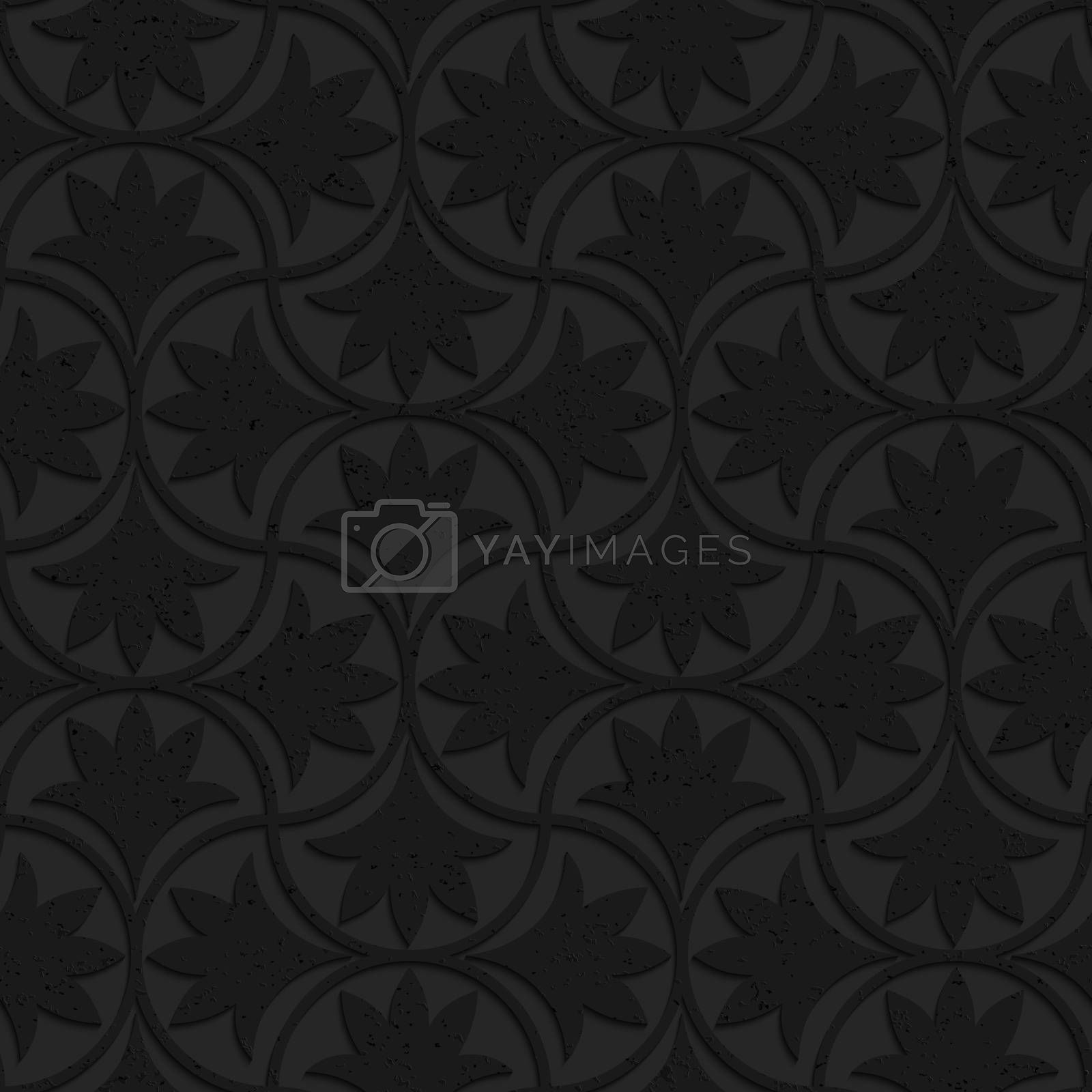 Seamless geometric background. Pattern with 3D texture and realistic shadow.Textured black plastic floral pin will.