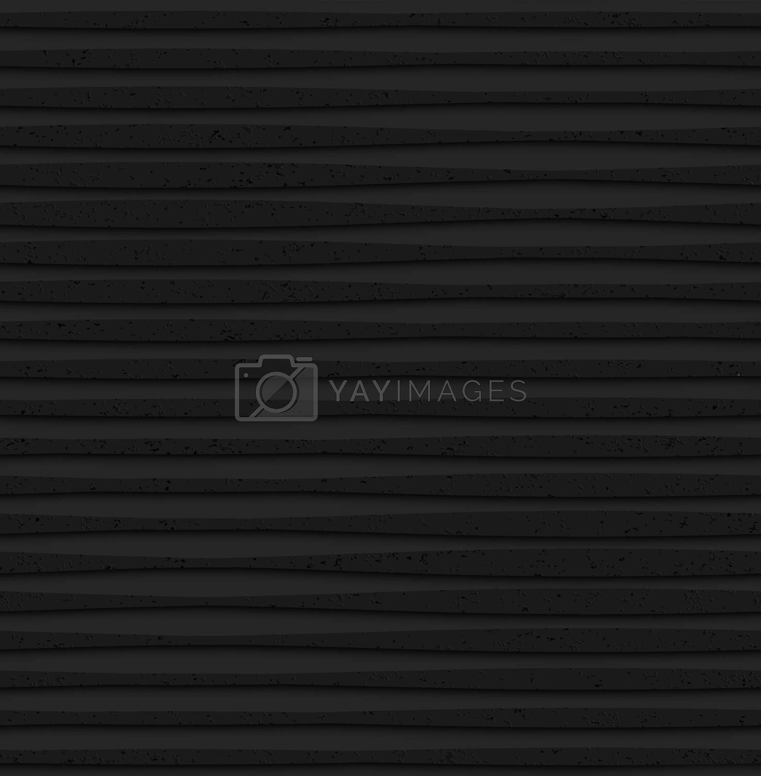 Seamless geometric background. Pattern with 3D texture and realistic shadow.Textured black plastic lines with thickening.