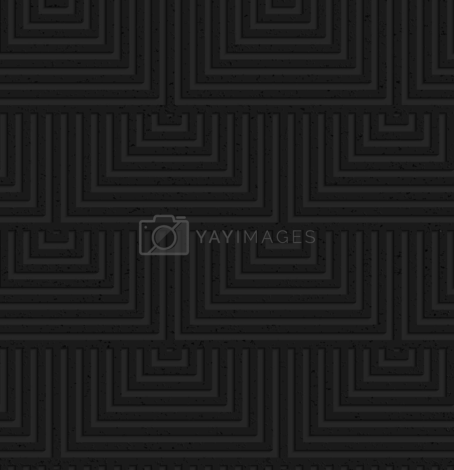 Seamless geometric background. Pattern with 3D texture and realistic shadow.Textured black plastic overlapping squares.