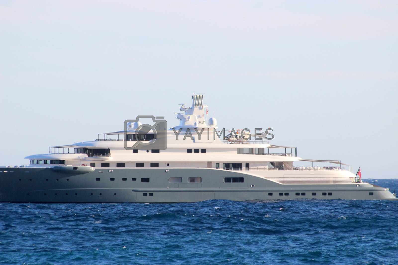 Luxury yacht with Helicopter on the Back Side View in Monaco