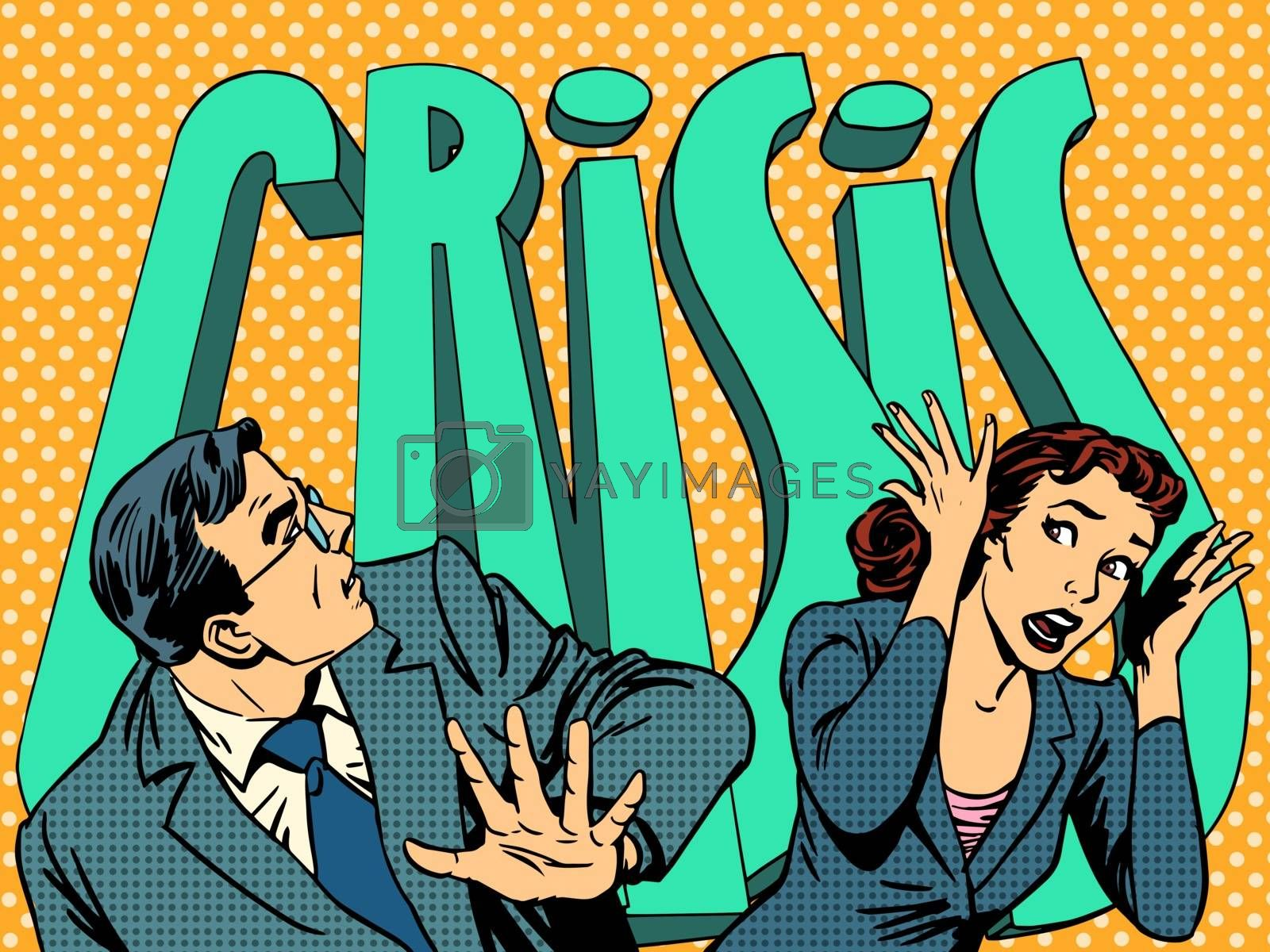 Businessman and businesswoman in panic of the financial crisis pop art retro style