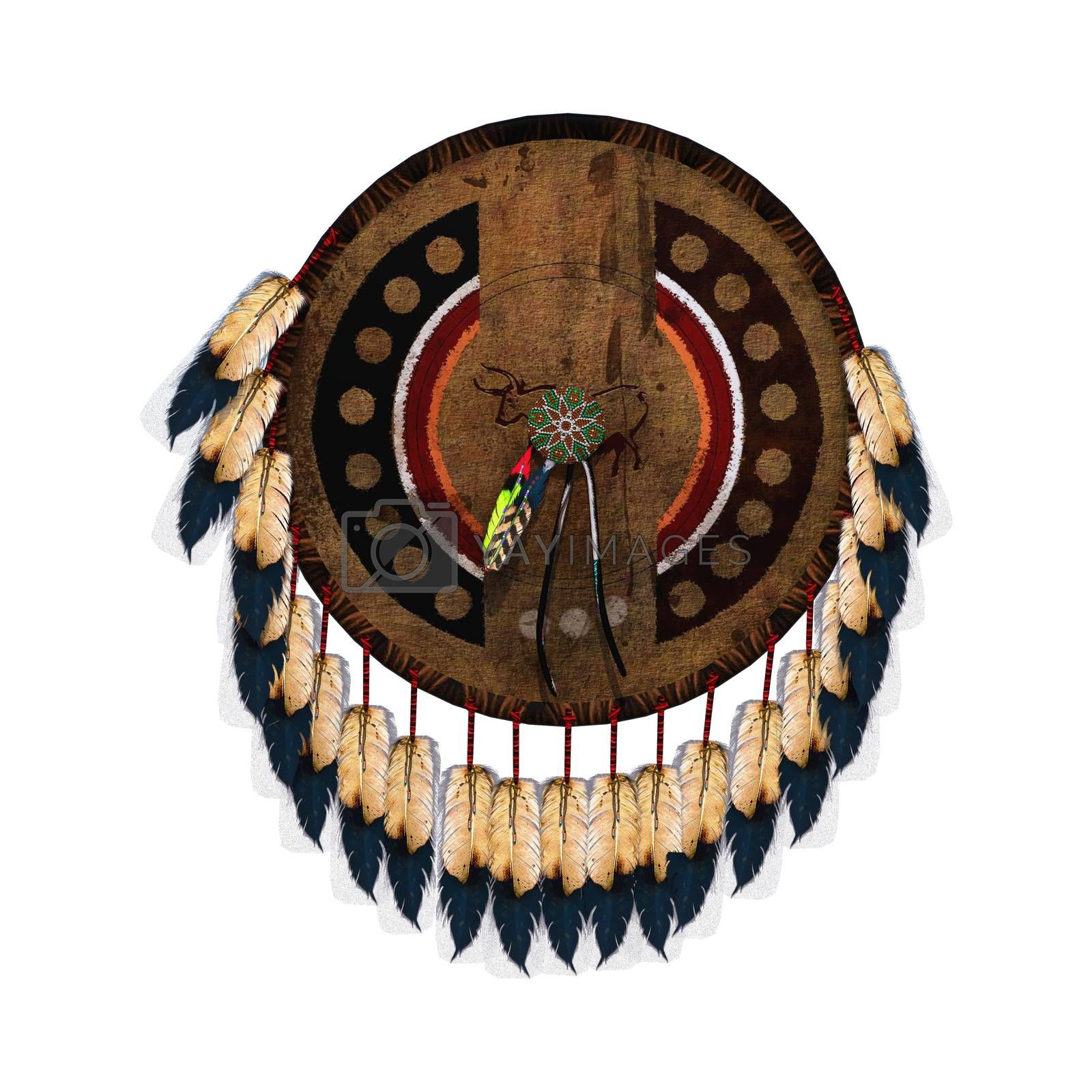 3D digital render of a native American shield isolated on white background