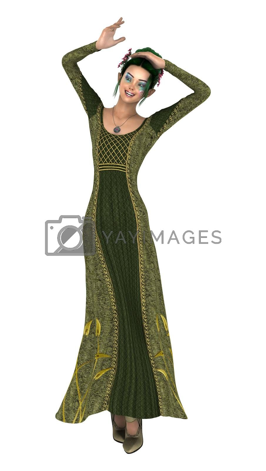 3D digital render of a beautiful princess of spring isolated on white background
