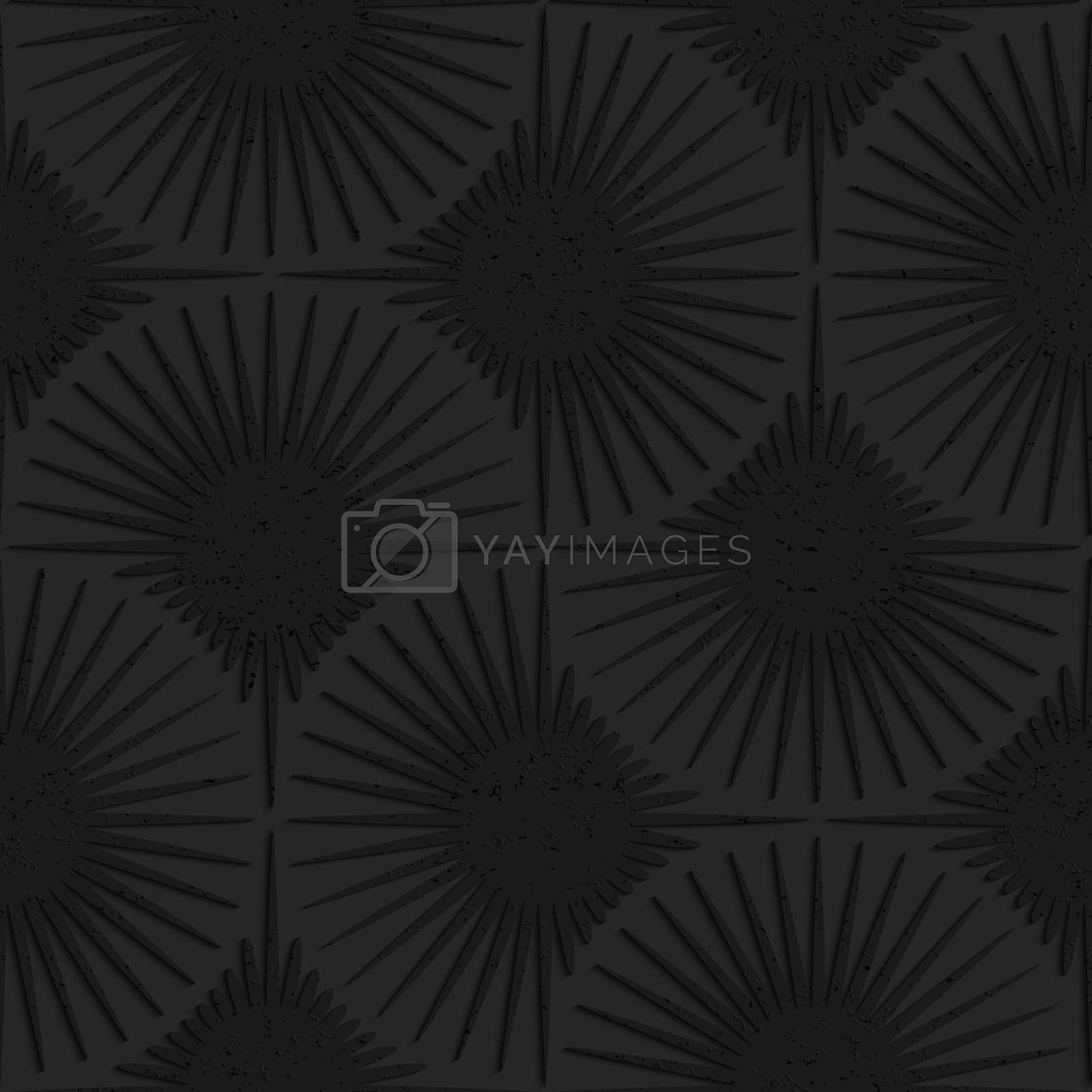 Seamless geometric background. Pattern with 3D texture and realistic shadow.Textured black plastic shapes with rays.