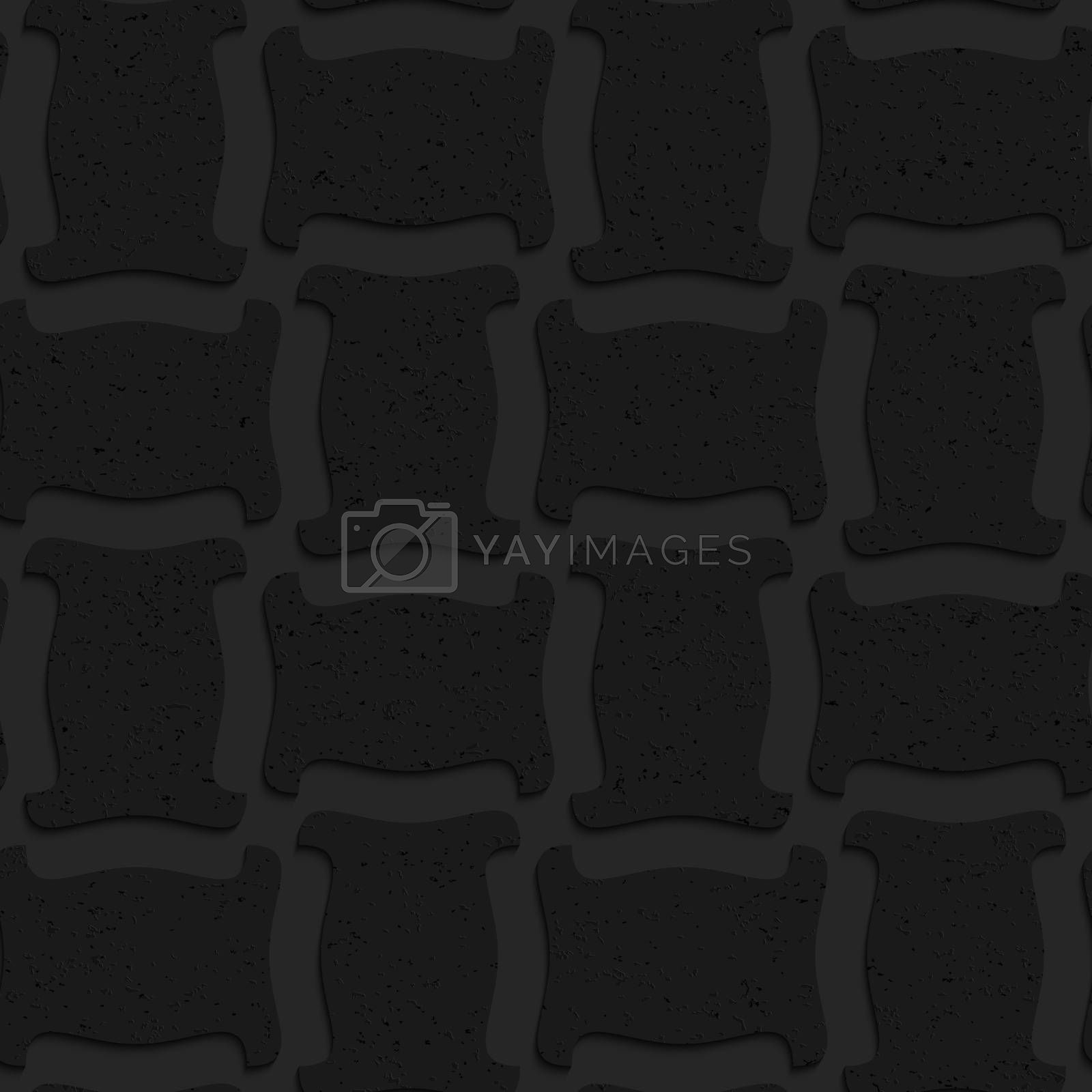 Seamless geometric background. Pattern with 3D texture and realistic shadow.Textured black plastic solid spool shape.