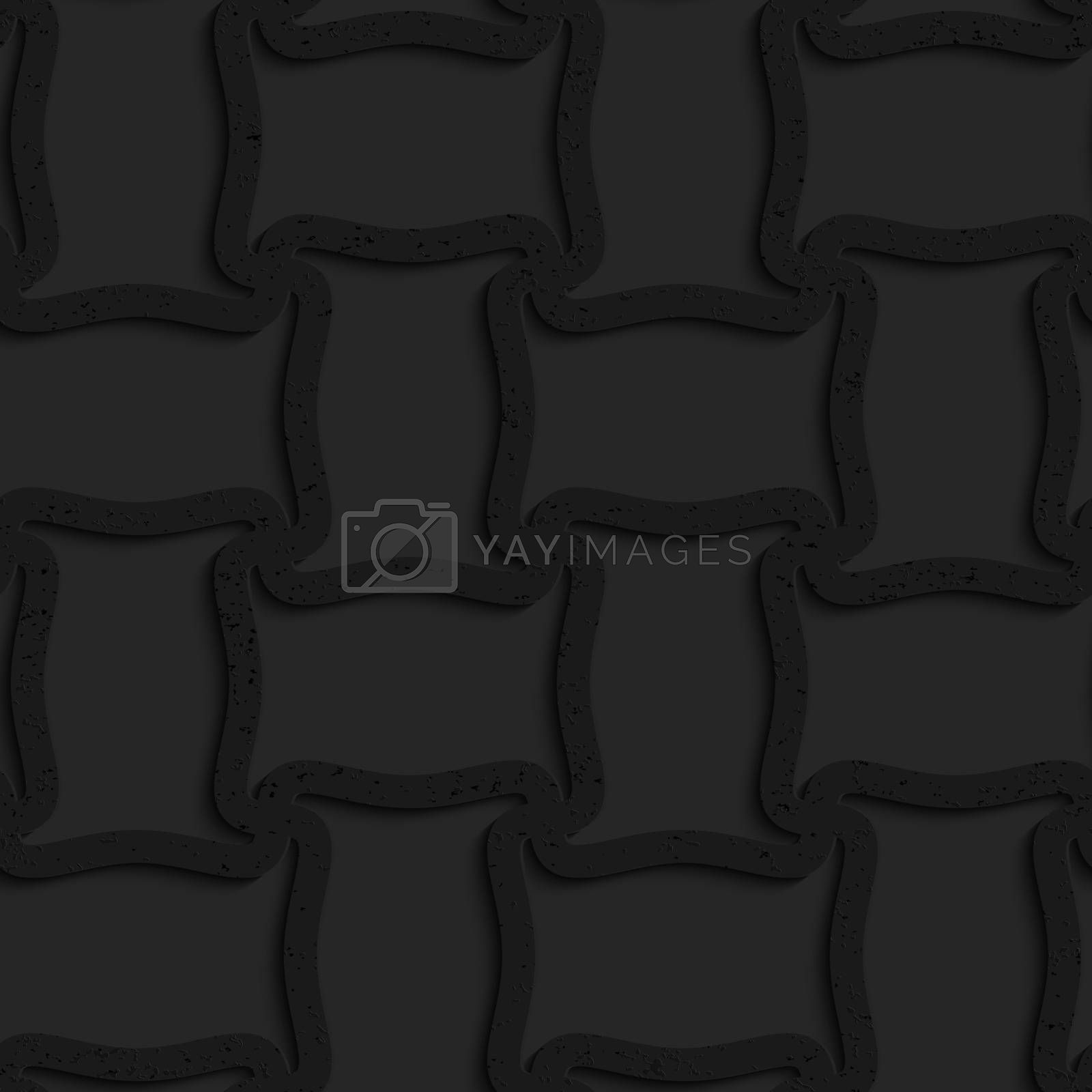 Seamless geometric background. Pattern with 3D texture and realistic shadow.Textured black plastic spool shape grid.