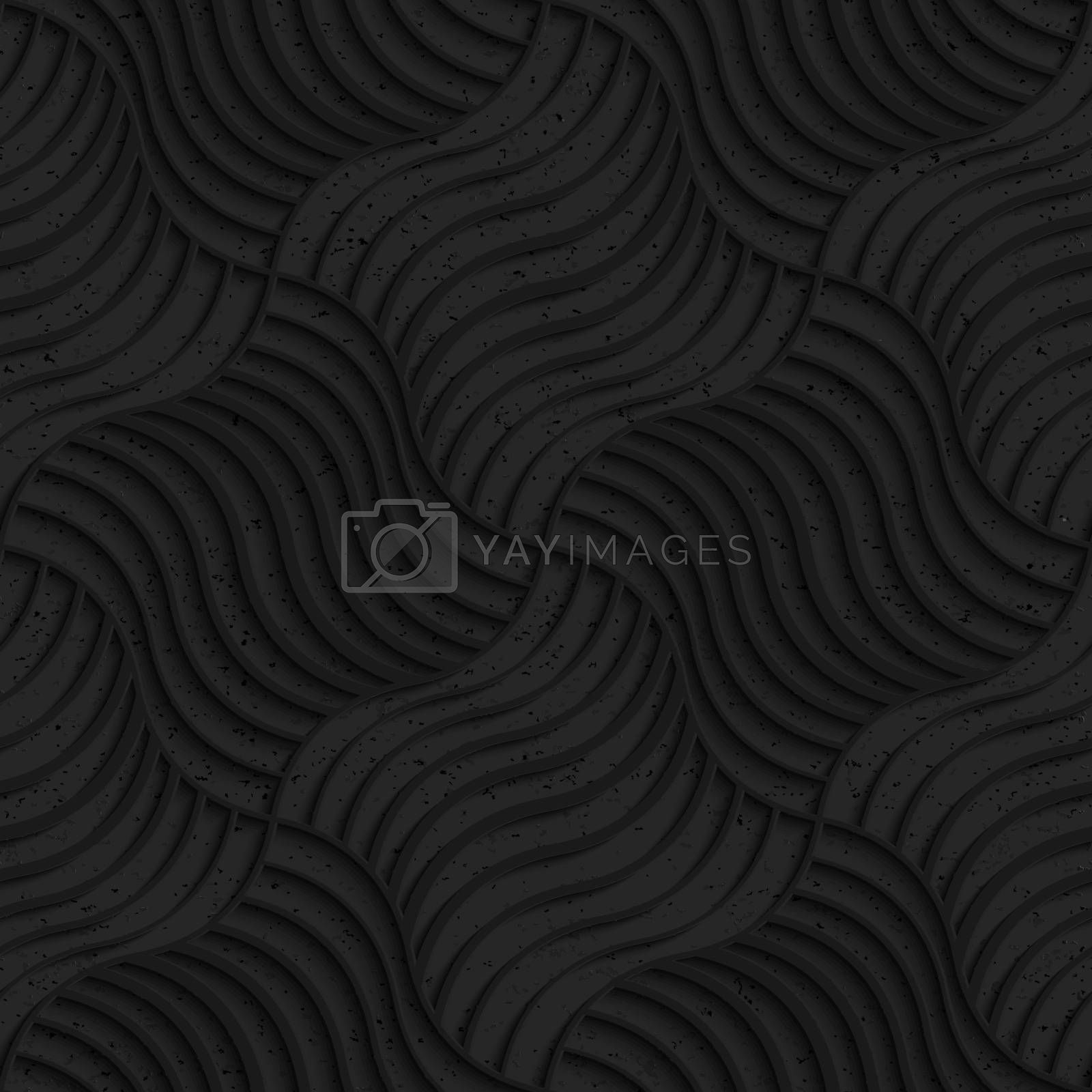 Seamless geometric background. Pattern with 3D texture and realistic shadow.Textured black plastic striped pillows pin will.