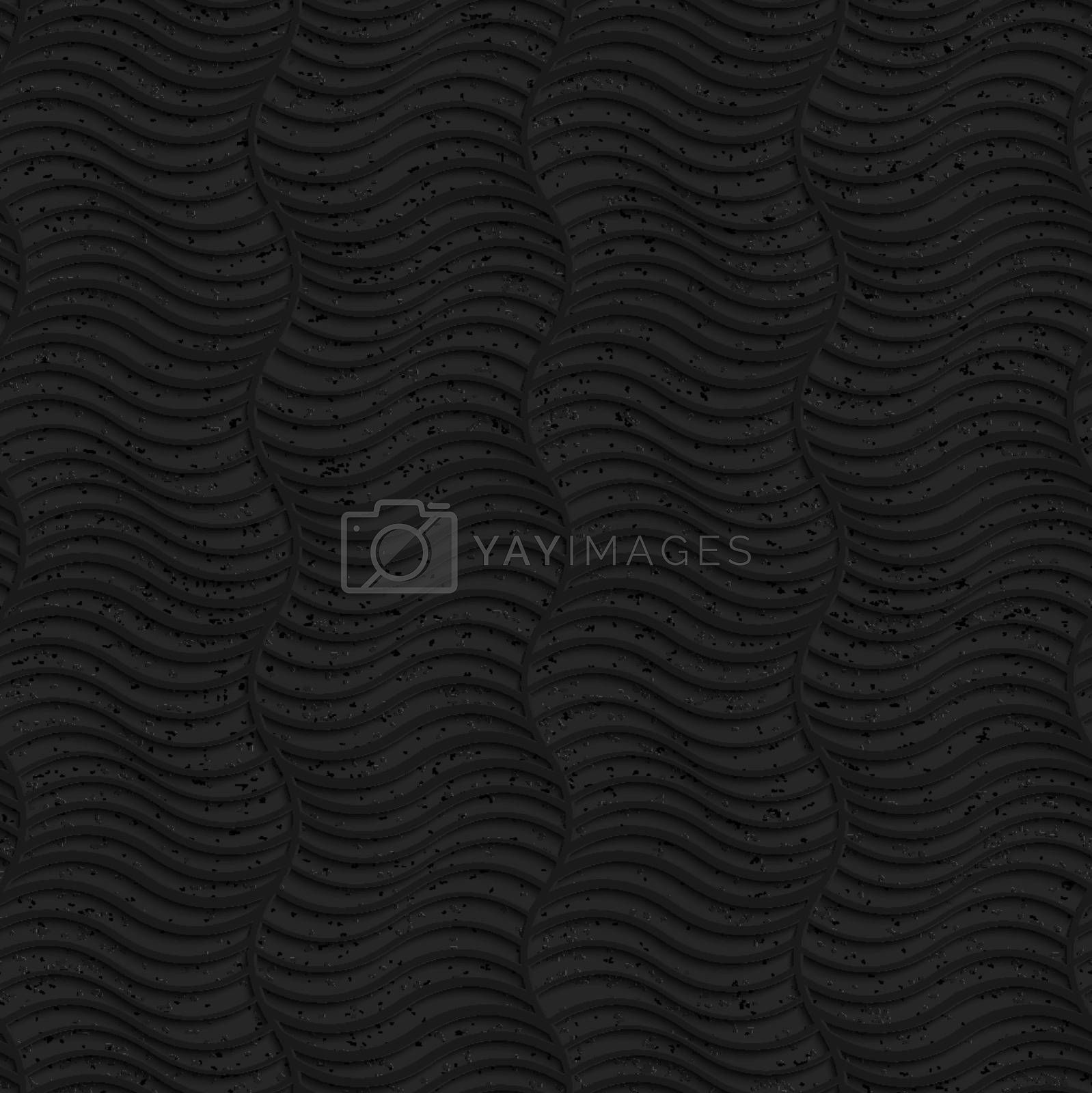 Seamless geometric background. Pattern with 3D texture and realistic shadow.Textured black plastic striped vertical waves.
