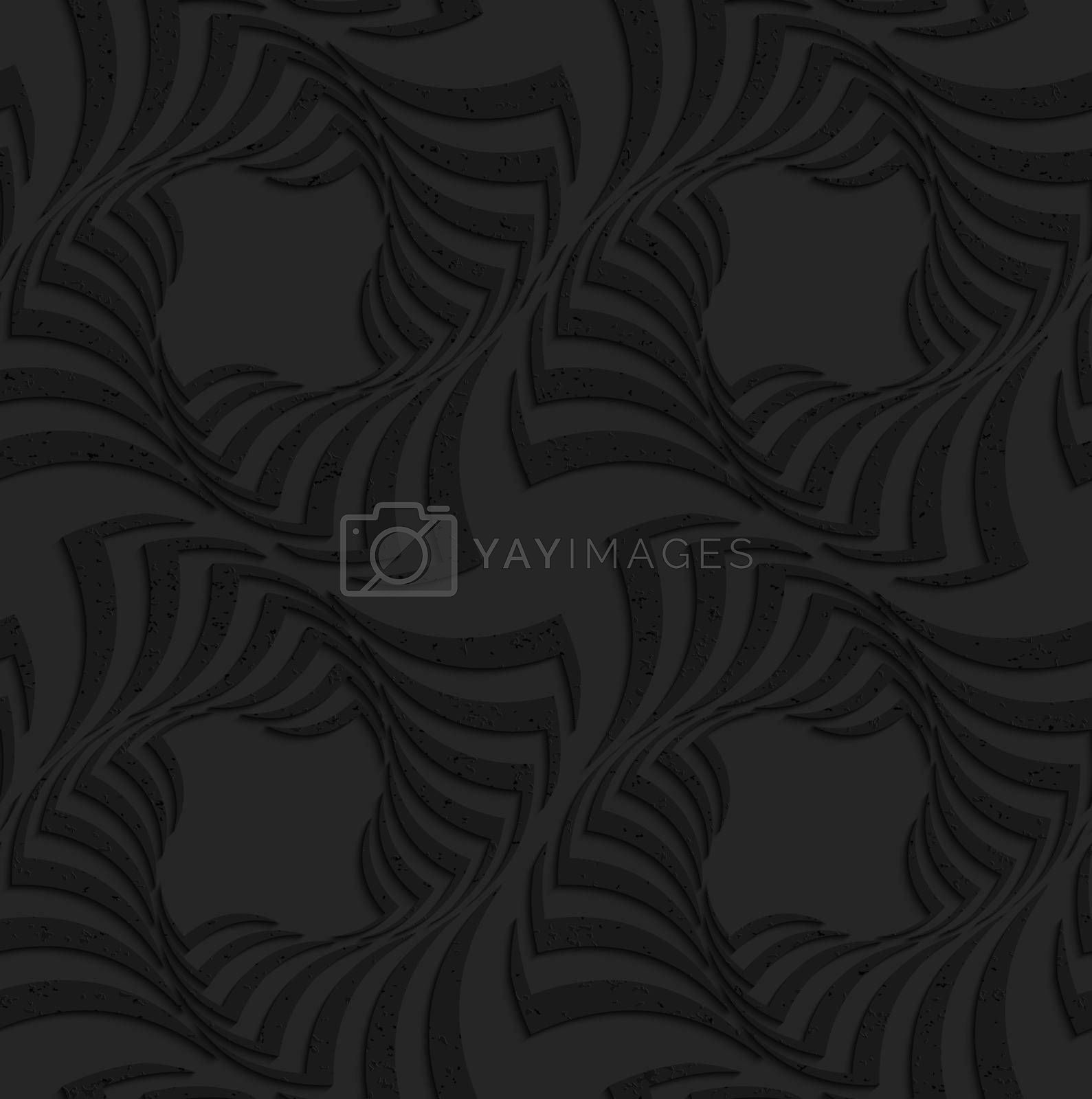 Textured black plastic twisted big squares by Zebra-Finch