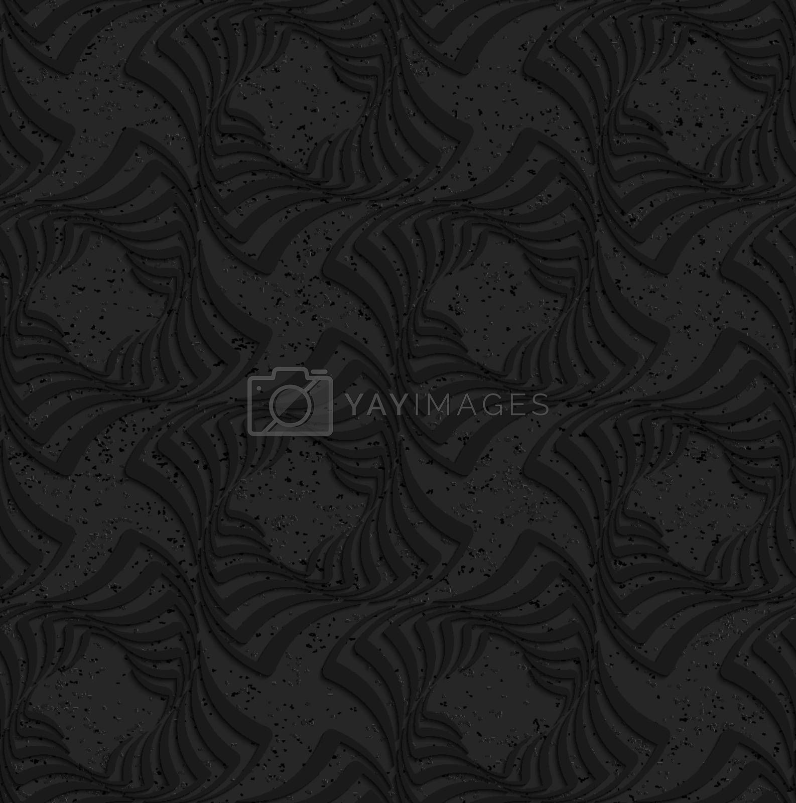 Seamless geometric background. Pattern with 3D texture and realistic shadow.Textured black plastic twisted squares.