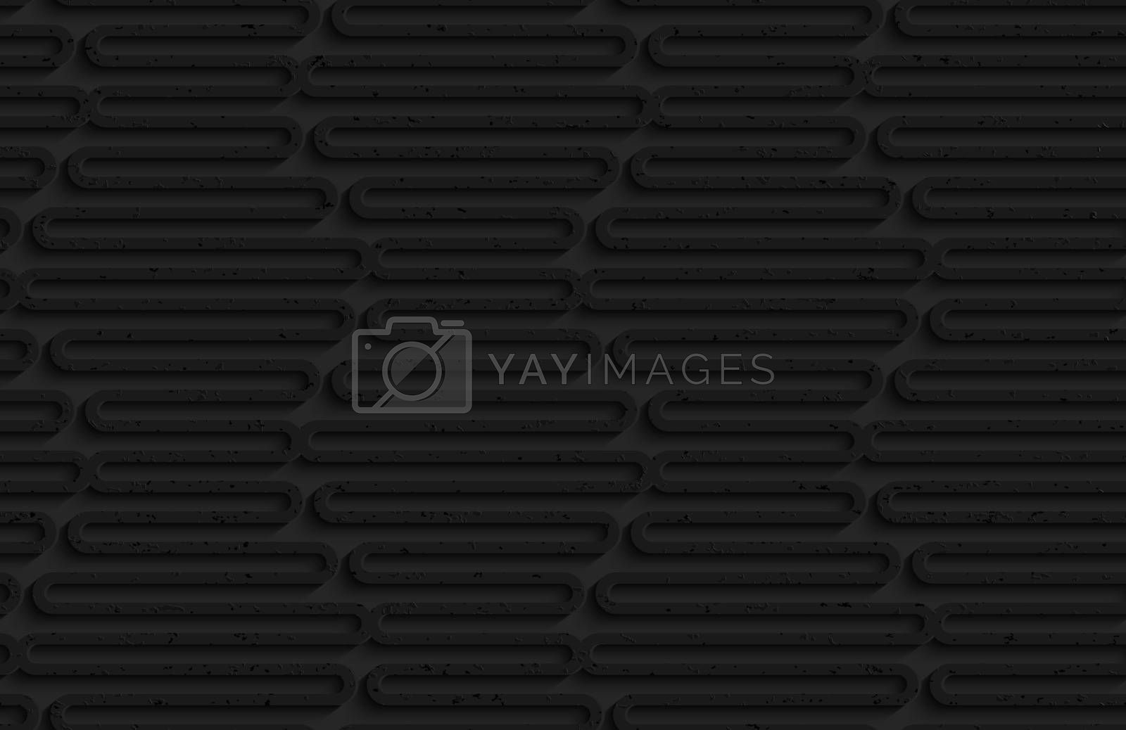 Seamless geometric background. Pattern with 3D texture and realistic shadow.Textured black plastic wavy hexagons.