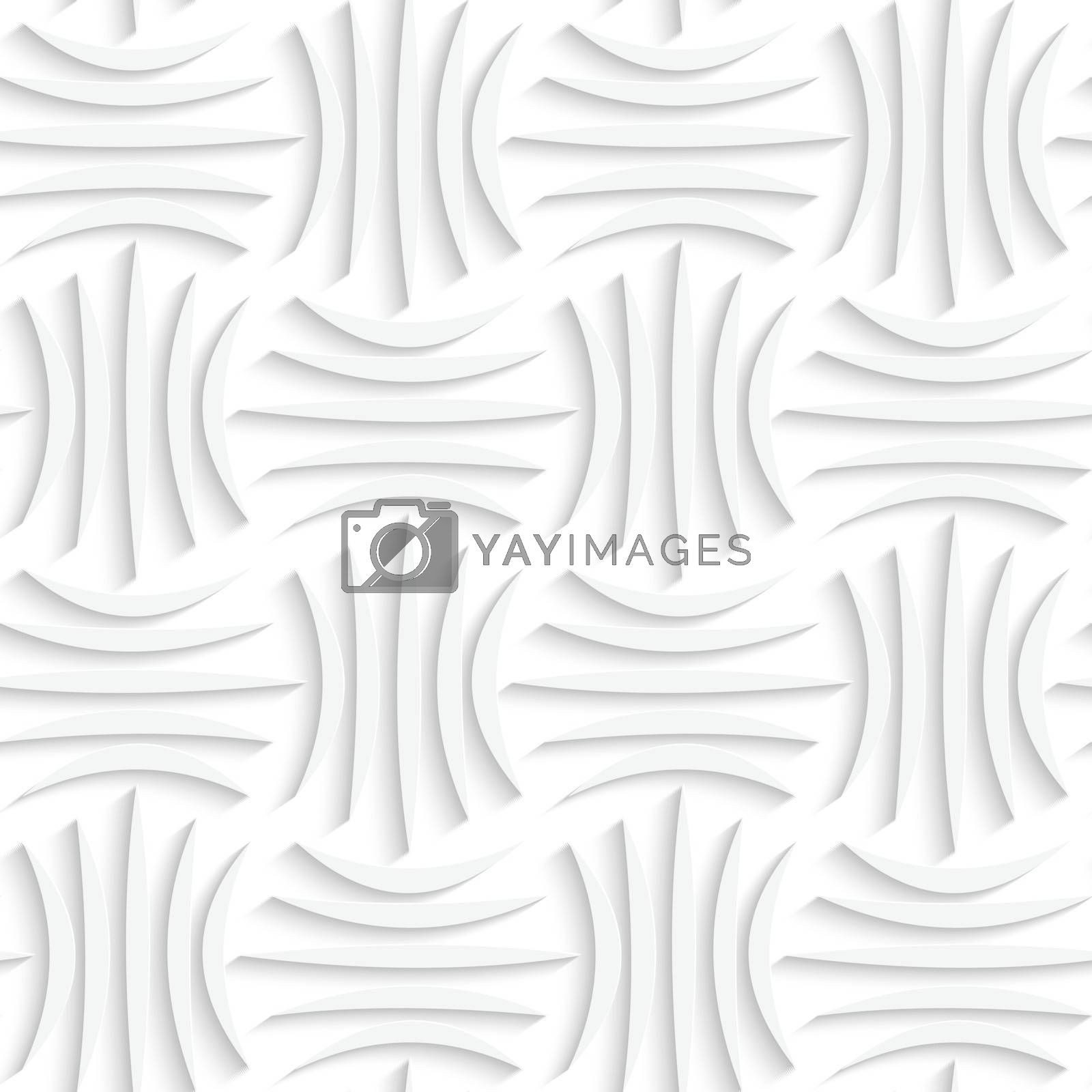 Paper white 3D geometric background. Seamless pattern with realistic shadow and cut out of paper effect.White paper 3D five stripes.