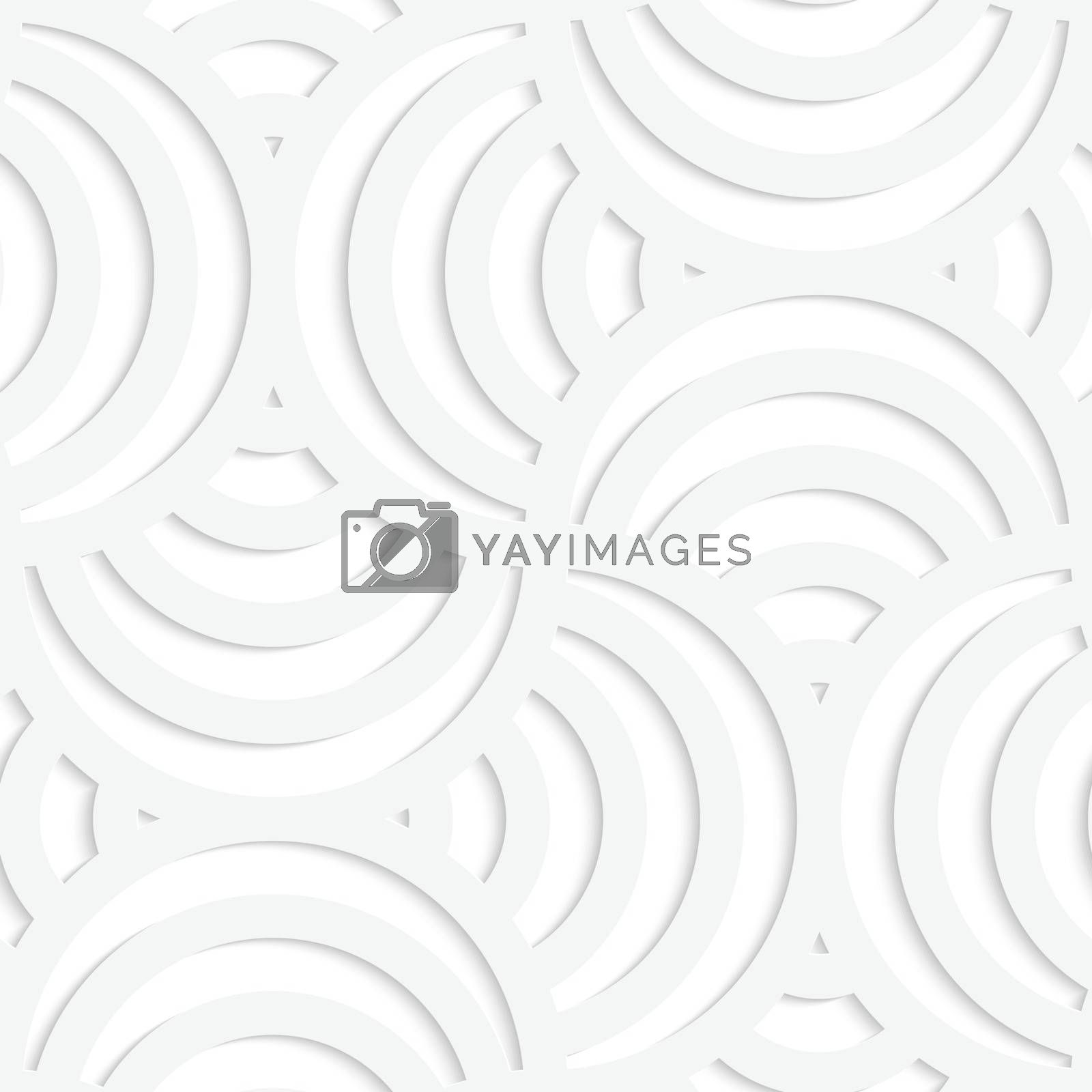 Paper white 3D geometric background. Seamless pattern with realistic shadow and cut out of paper effect.White paper 3D four stripes circle pin will.