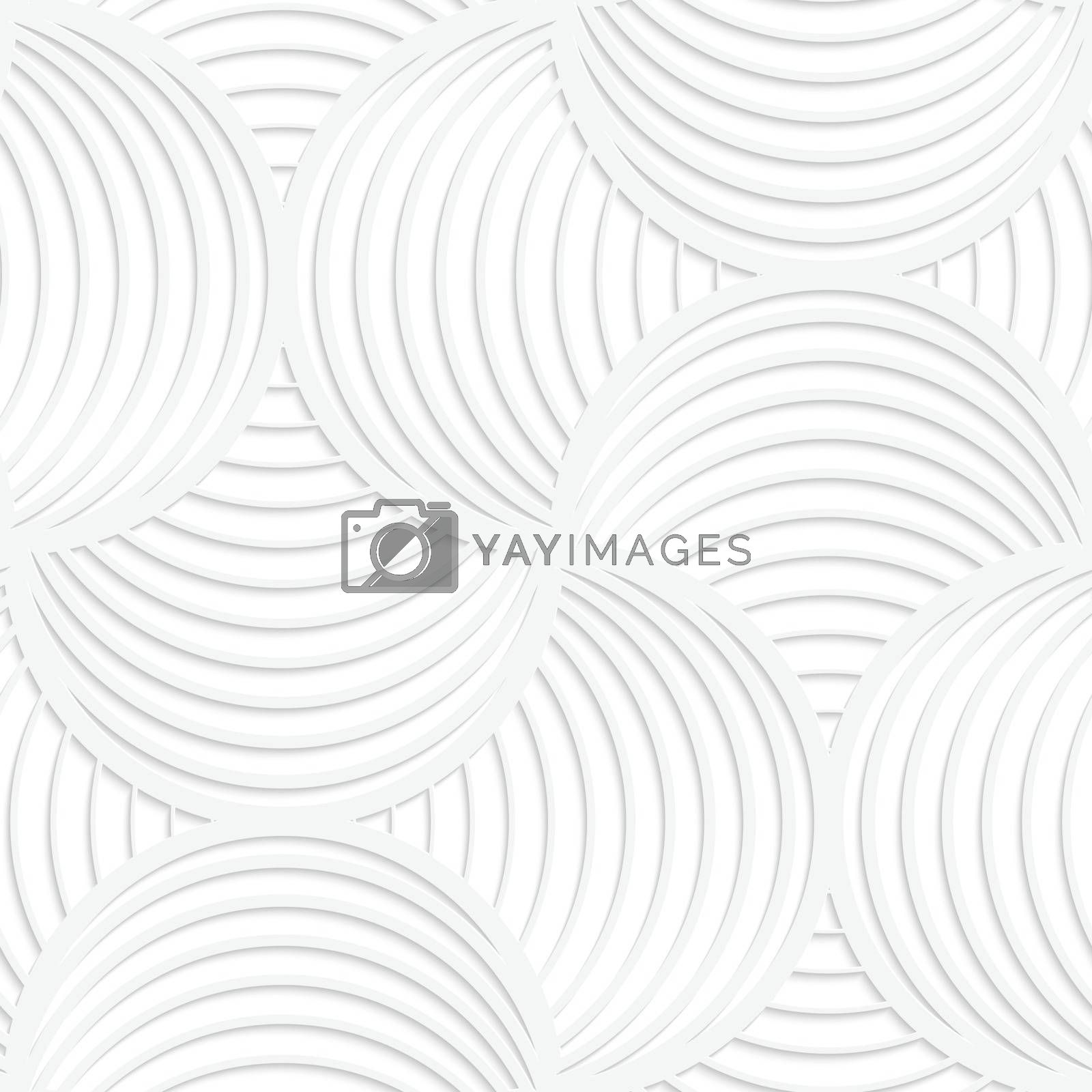 Paper white 3D geometric background. Seamless pattern with realistic shadow and cut out of paper effect.White paper 3D slim stripes circle pin will.