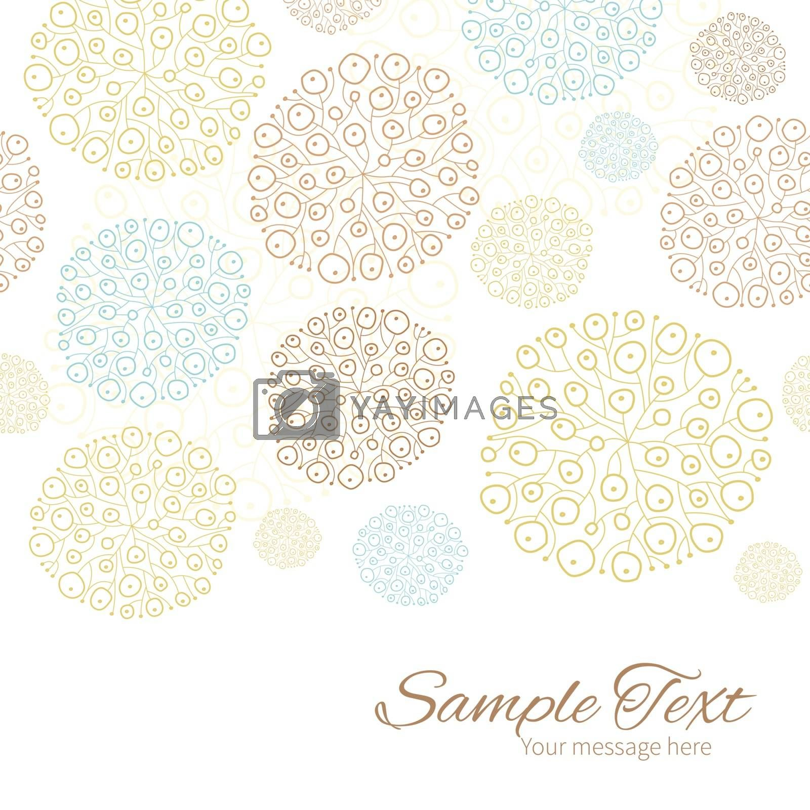 Vector blue brown abstract seaweed texture horizontal border card template graphic design
