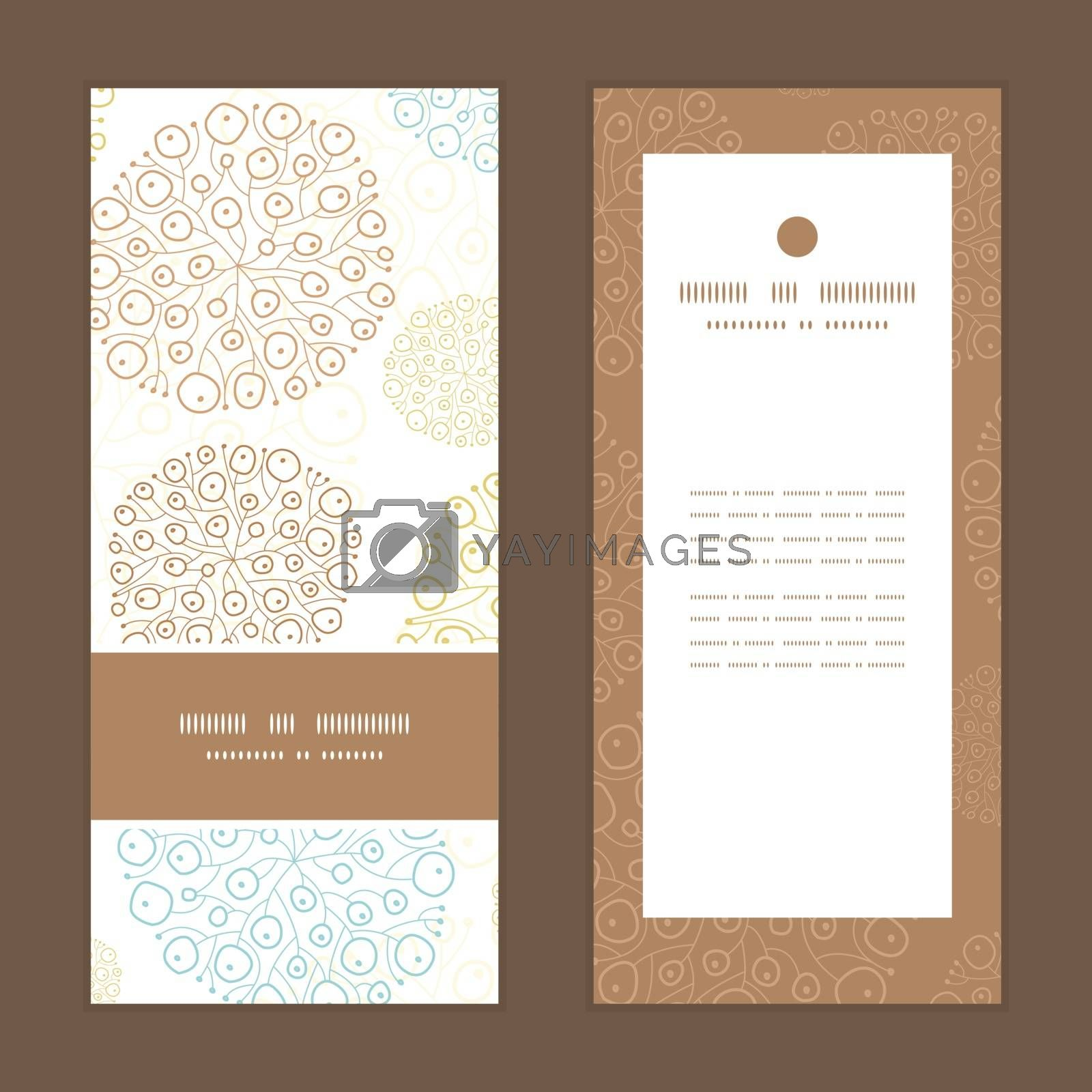 Vector blue brown abstract seaweed texture vertical frame pattern invitation greeting cards set graphic design
