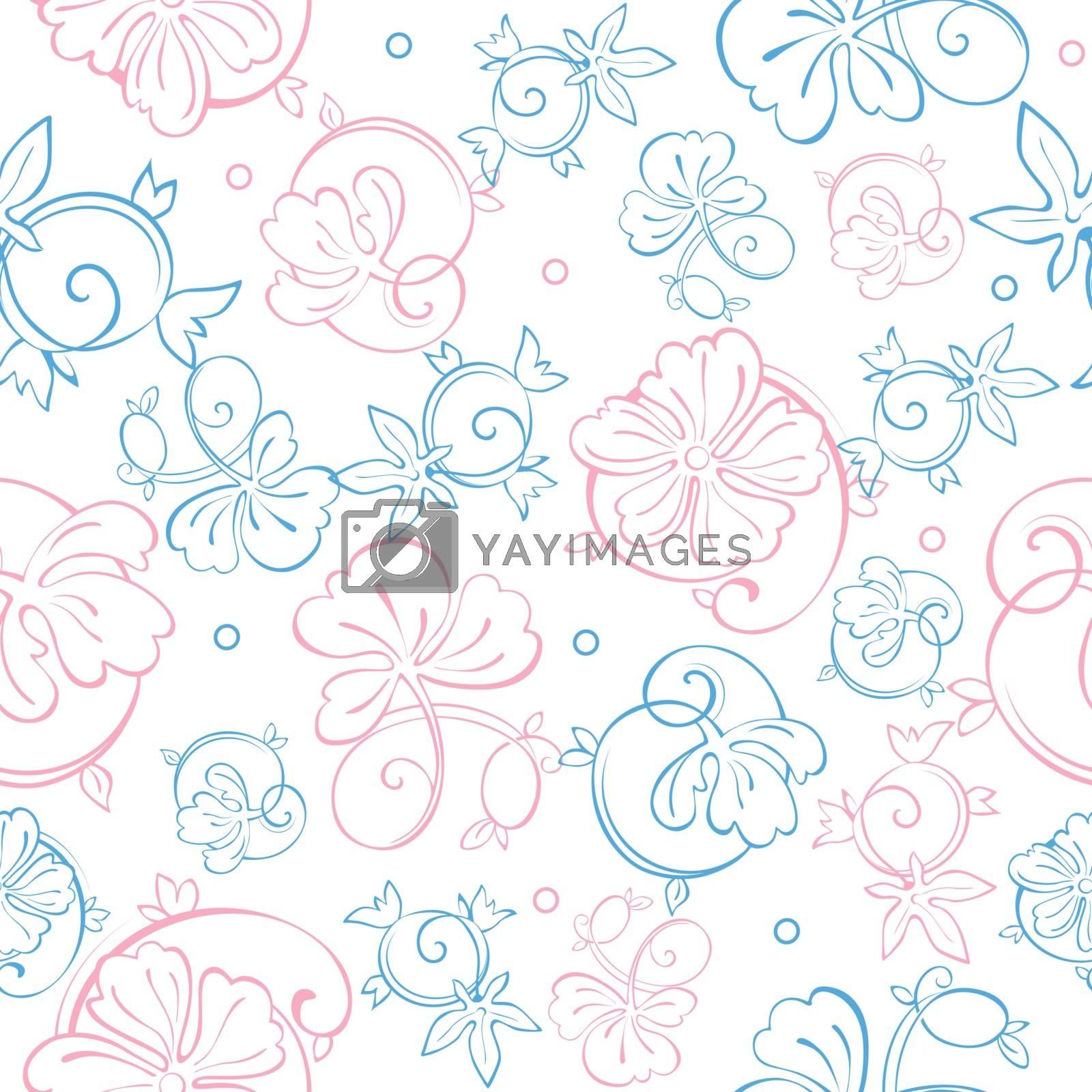 Vector Pink Blue Pastel Floral Swirls Seamless Pattern graphic design