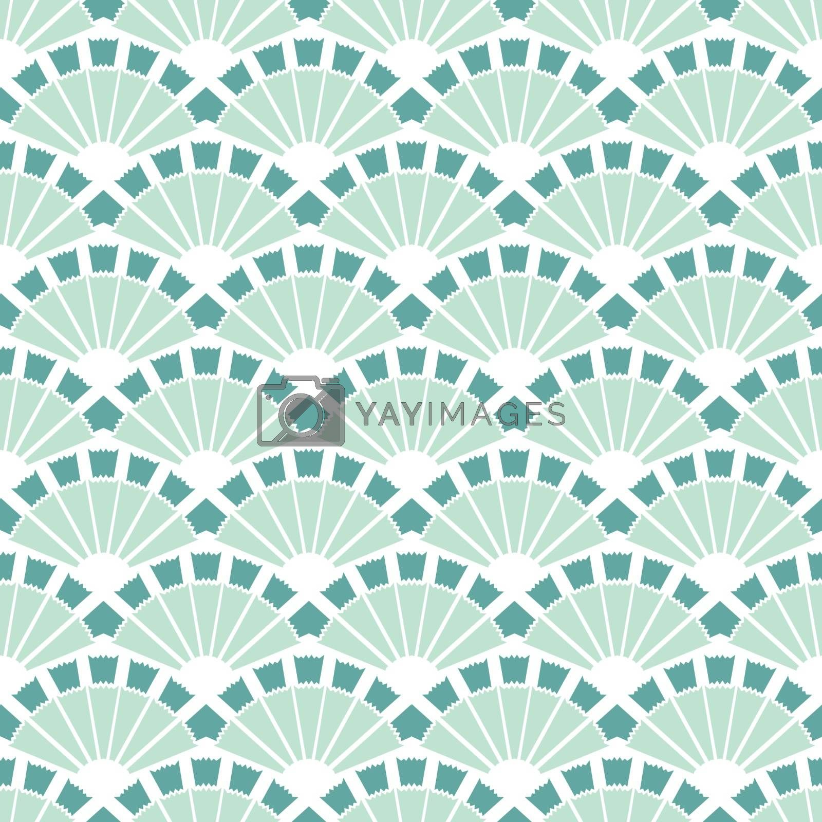 Vector Sea Green Fans Abstract Seamless Pattern graphic design