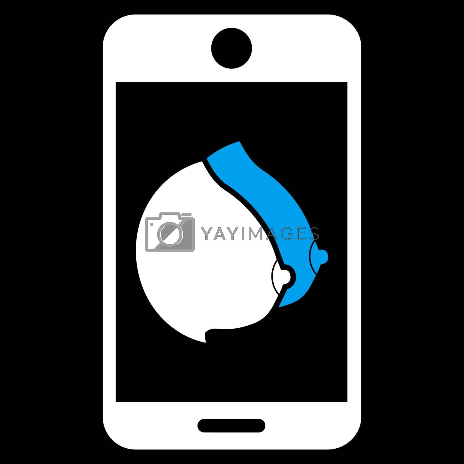 Mobile Erotic Tits vector icon. Style is bicolor flat symbol, blue and white colors, rounded angles, black background.