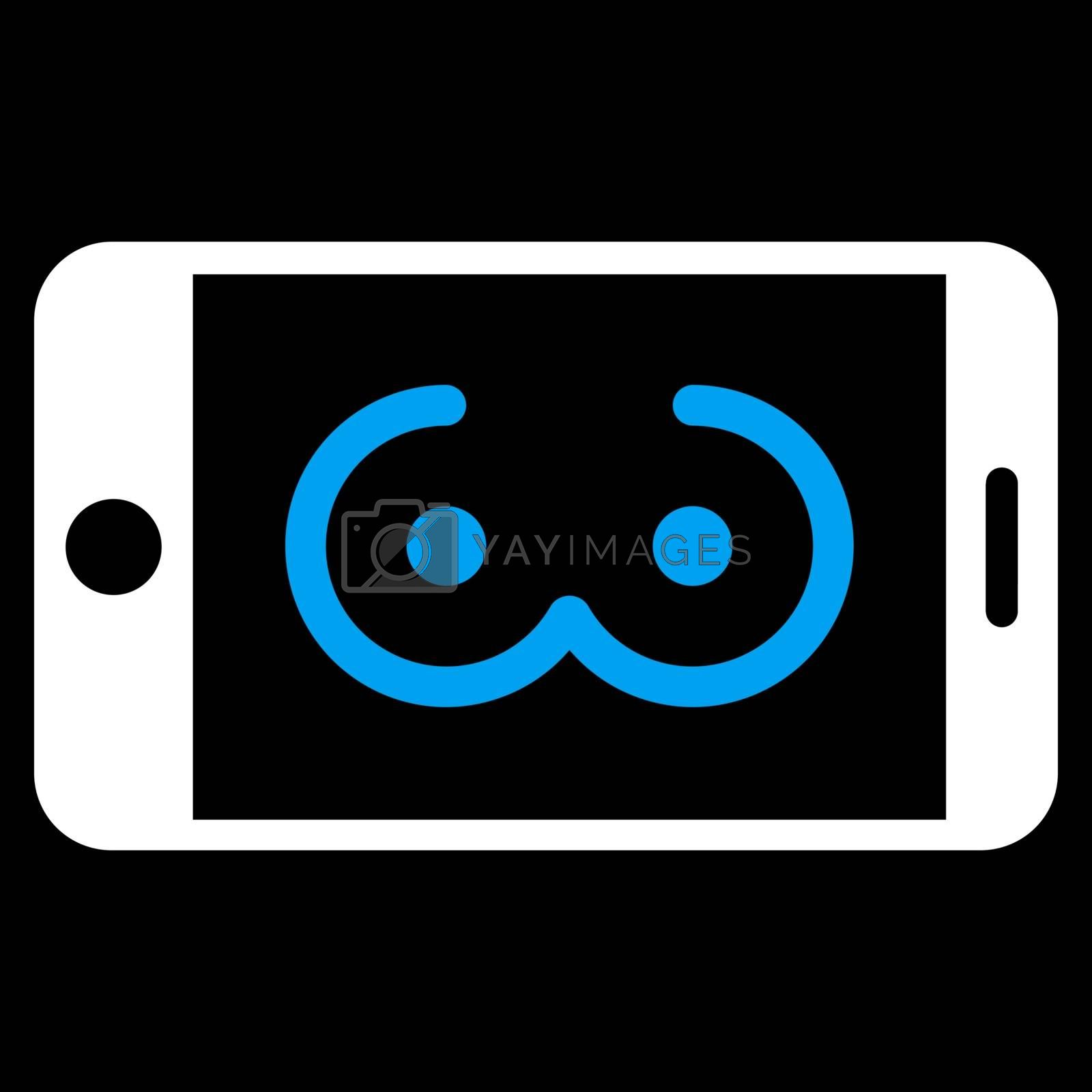 Mobile Female Erotics vector icon. Style is bicolor flat symbol, blue and white colors, rounded angles, black background.