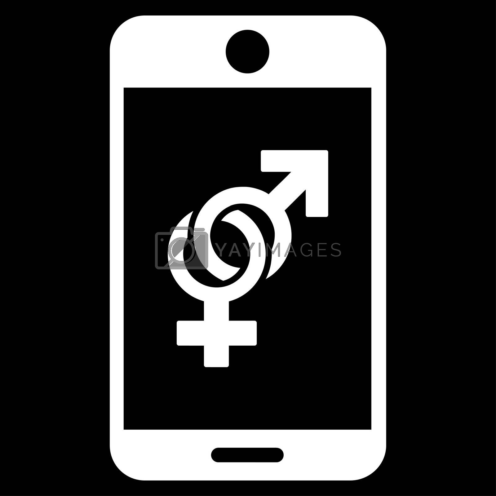 Mobile Dating glyph icon. Style is flat symbol, white color, rounded angles, black background.
