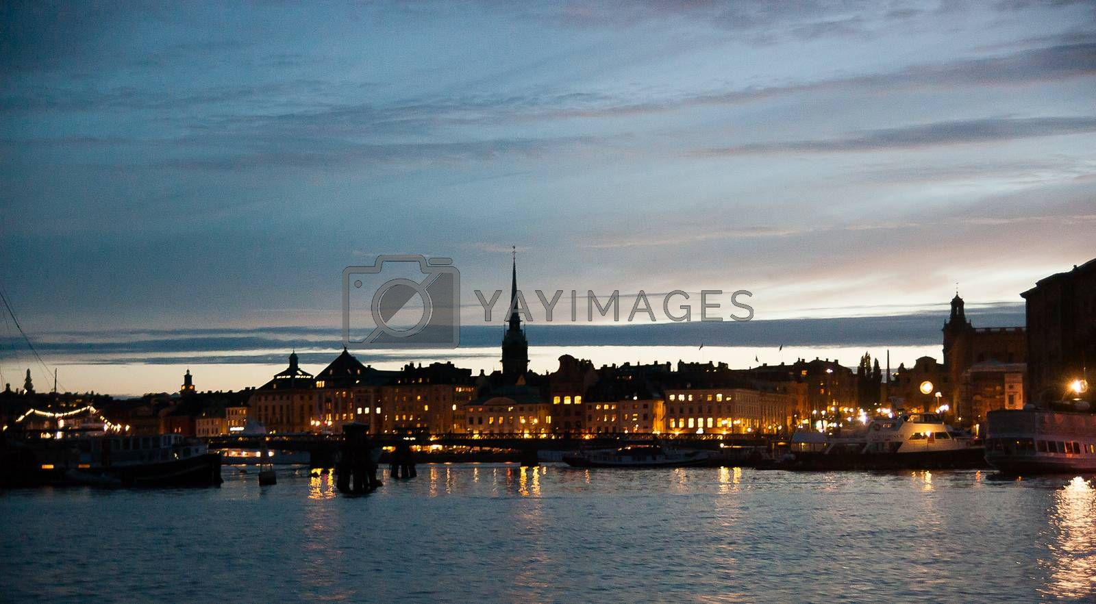Romantic view of stockholm evening and dramatic sky