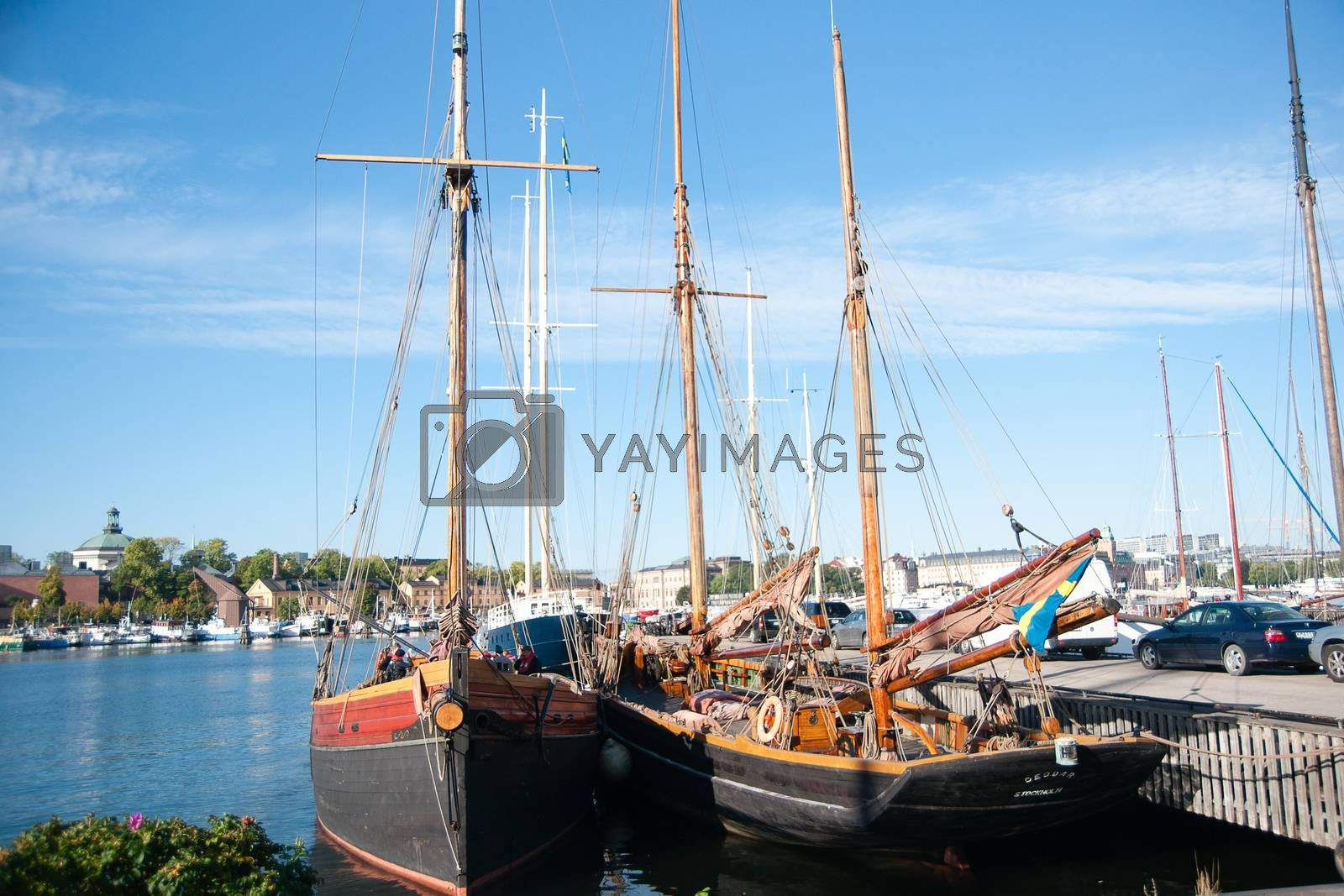 Traveling in Stockholm sweden by ships in summer vacation