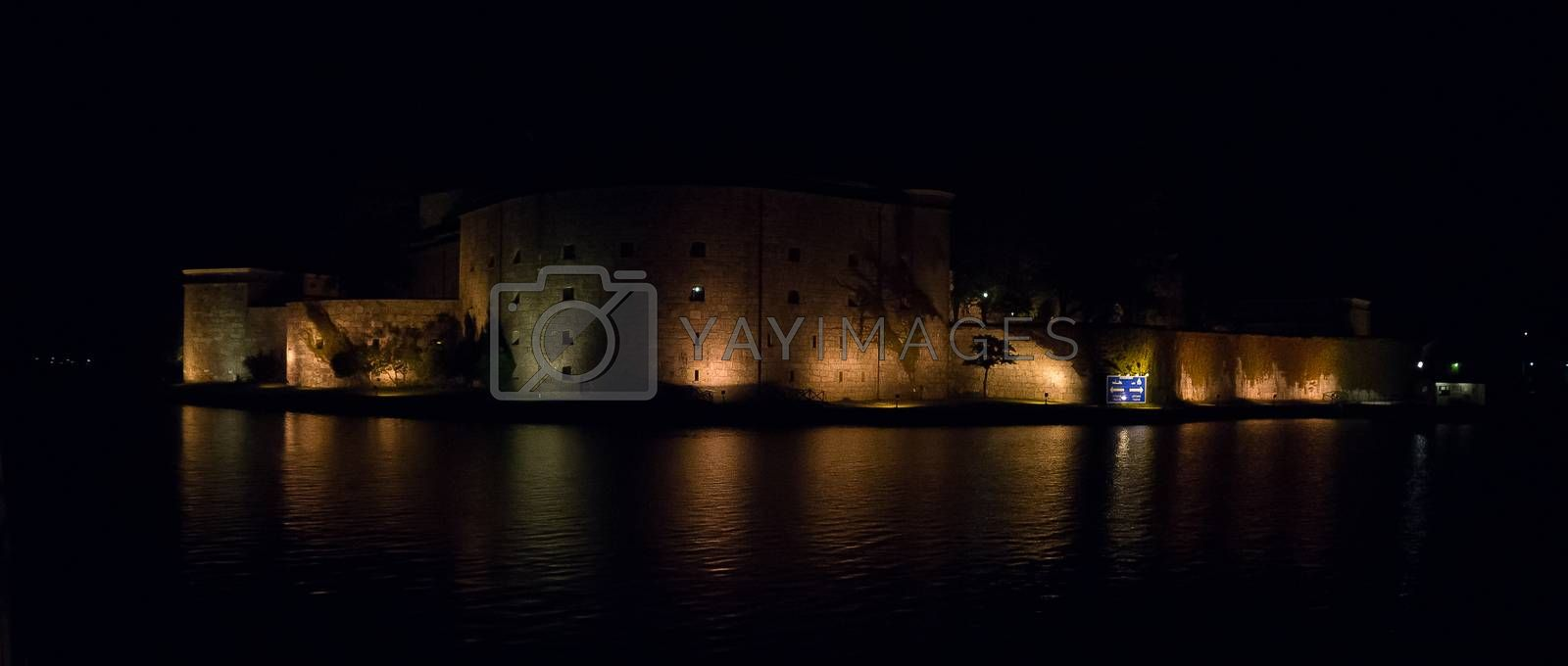 Night romantic view of sweden stronghold