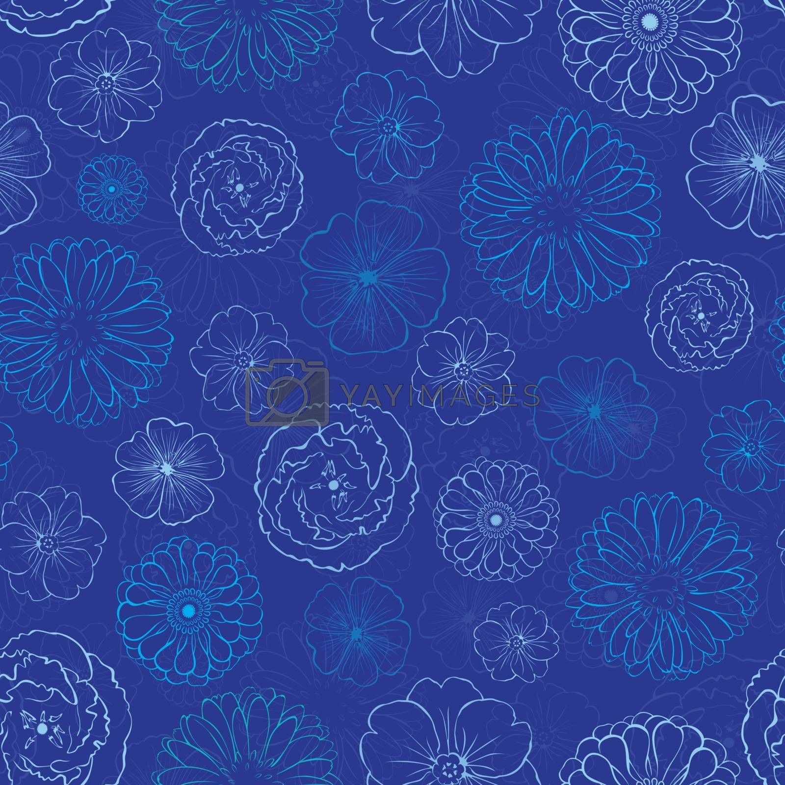 Vector Dark Blue Night Flowers Seamless Pattern graphic design