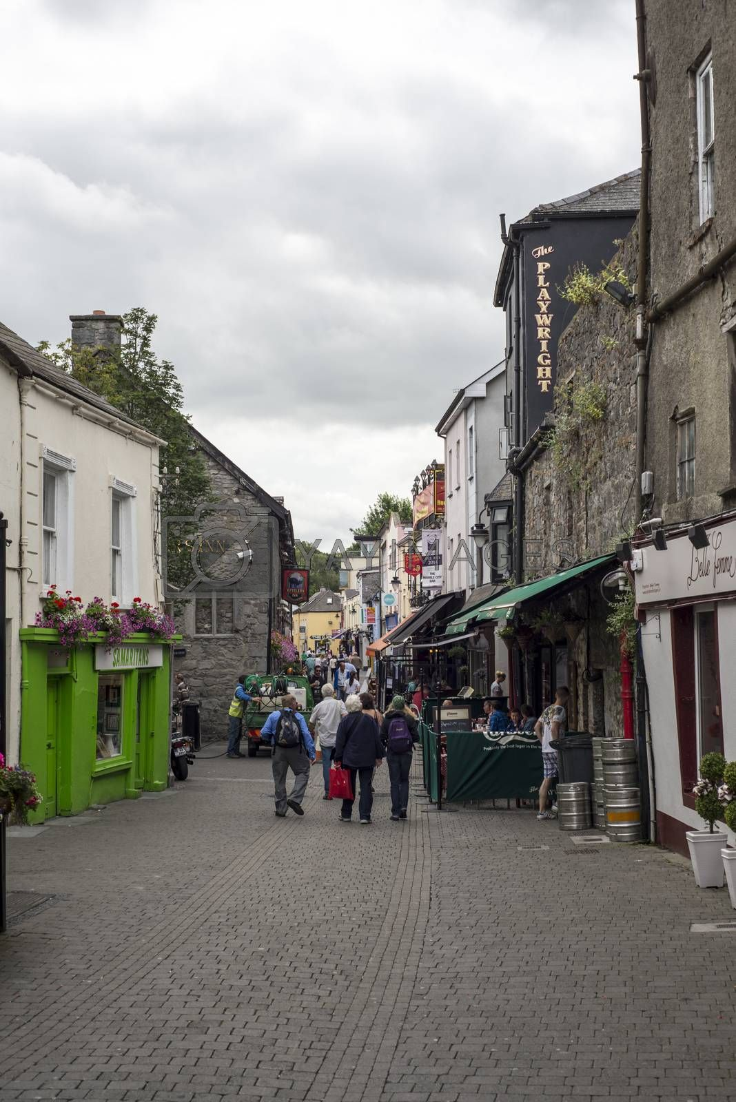 beautiful side street scene in kilkenny city ireland