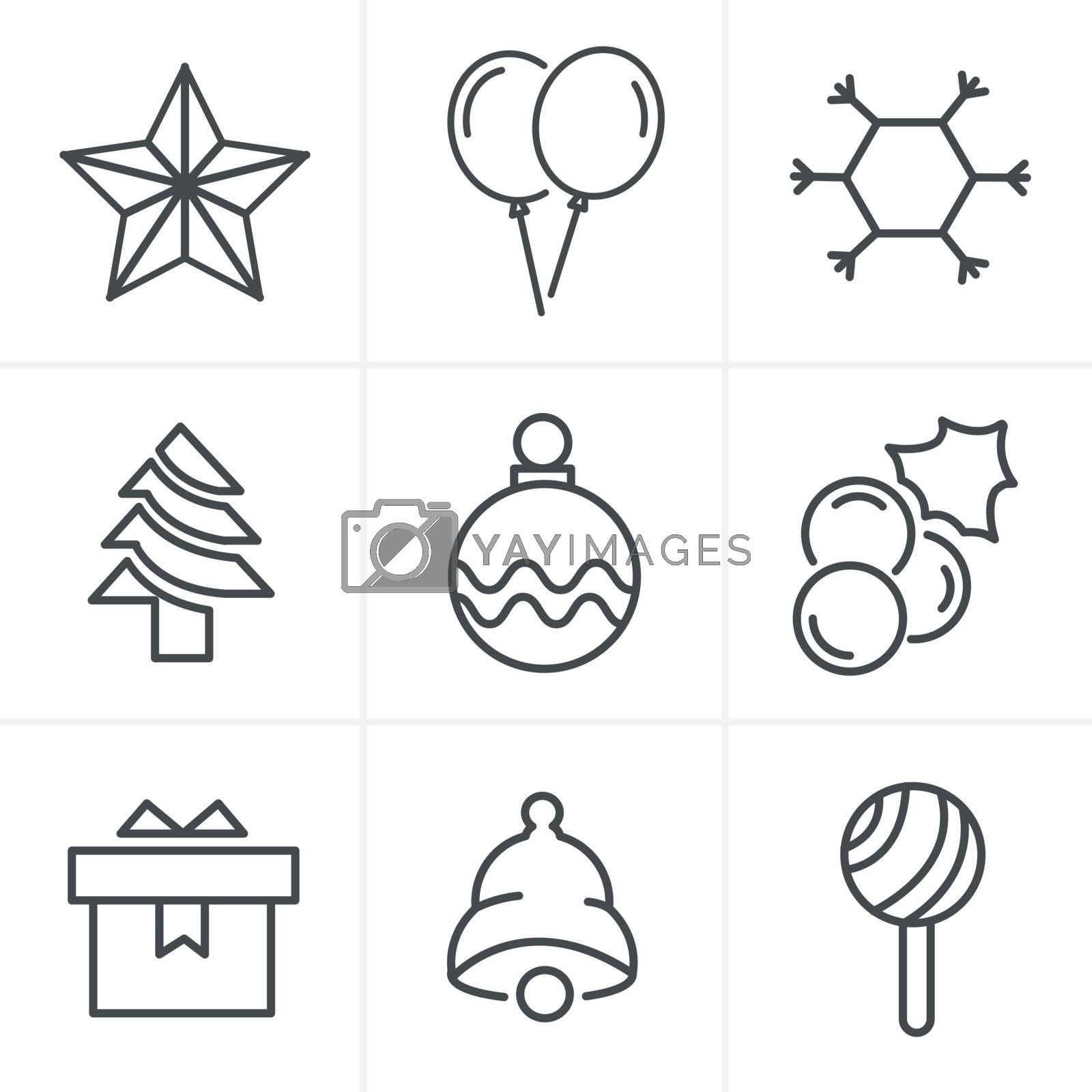 Line Icons Style  Christmas Icons Set, Vector Design