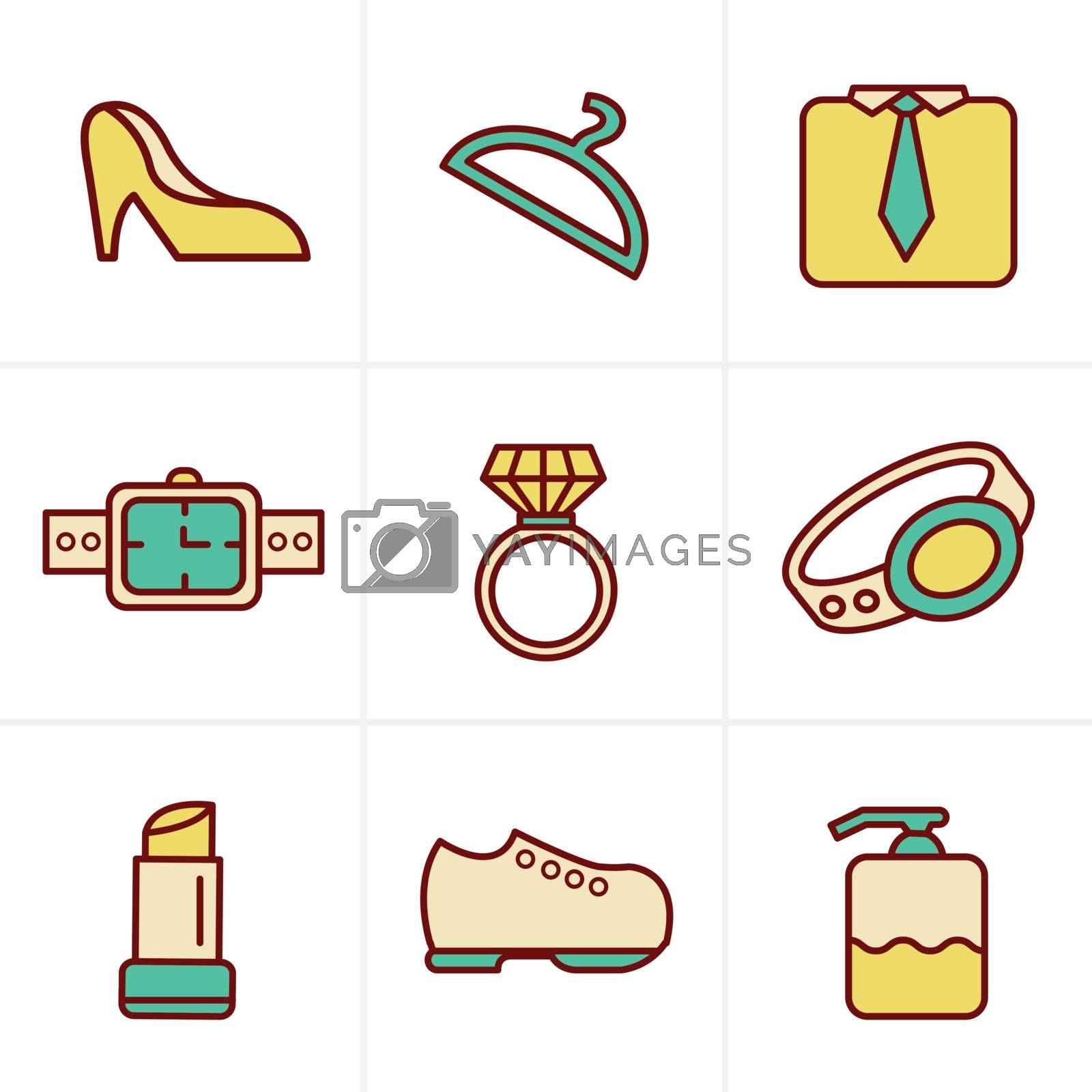 Icons Style Fashion Icons Set, Vector Design