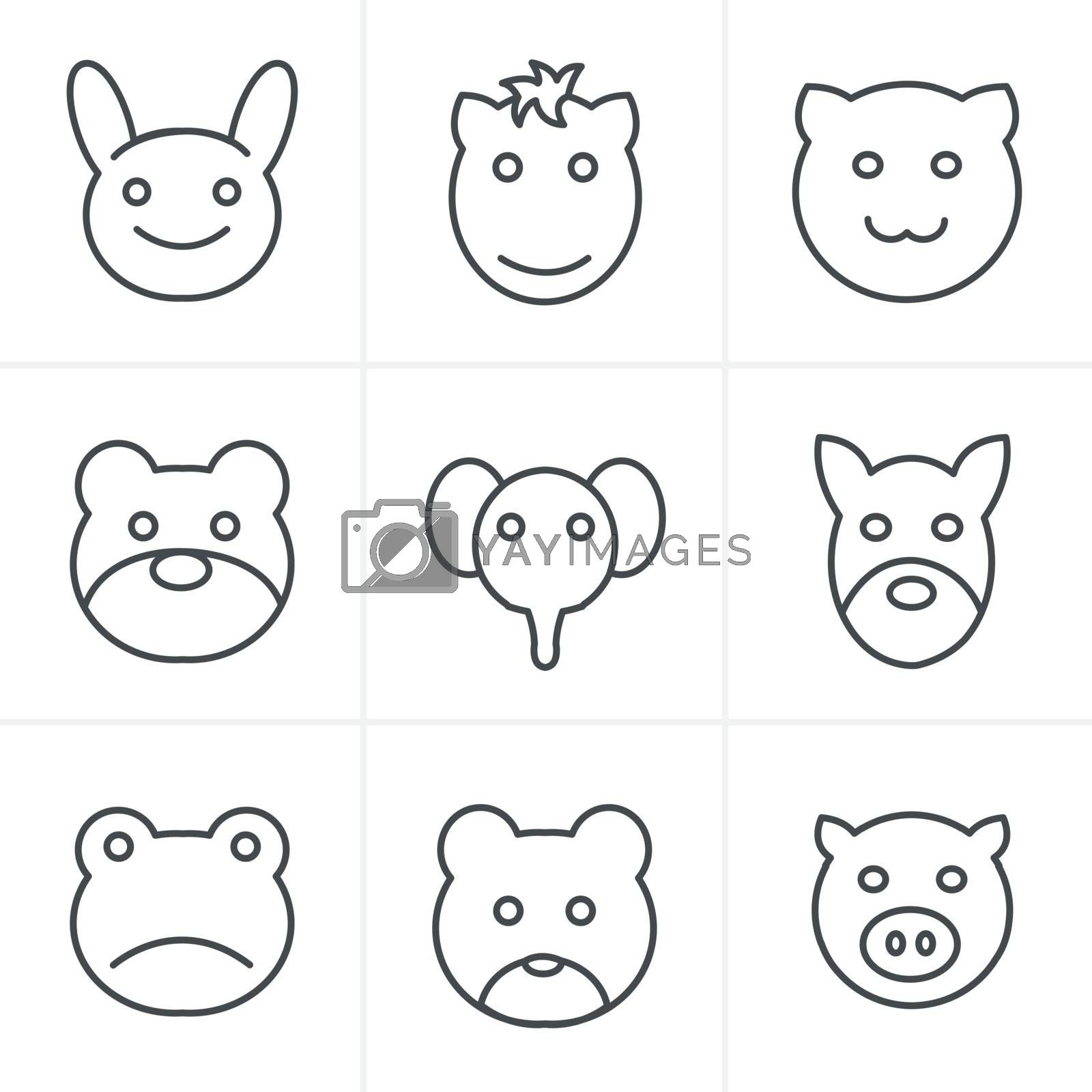 Line Icons Style Animals icons