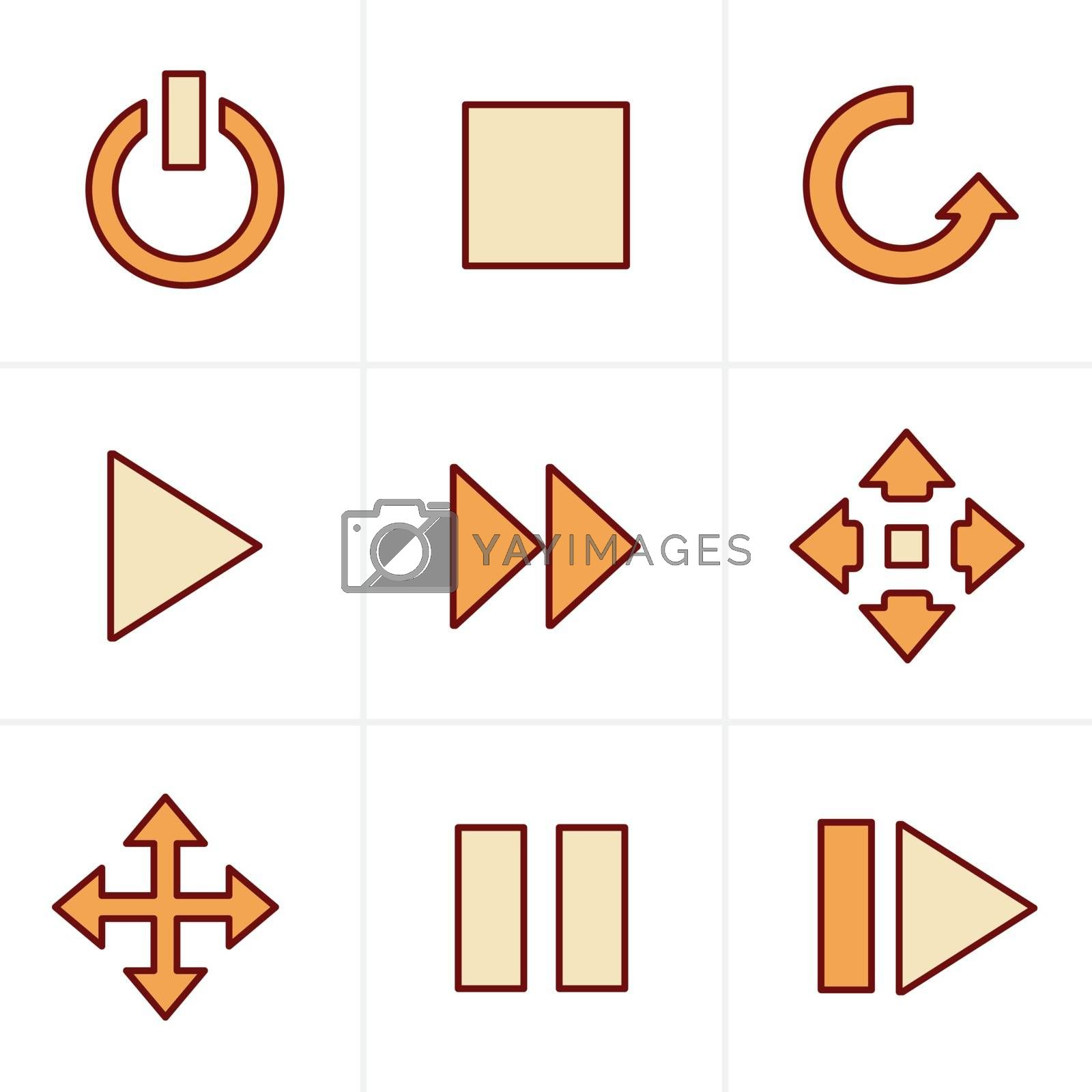Icons Style  media  Icons Set, Vector Design