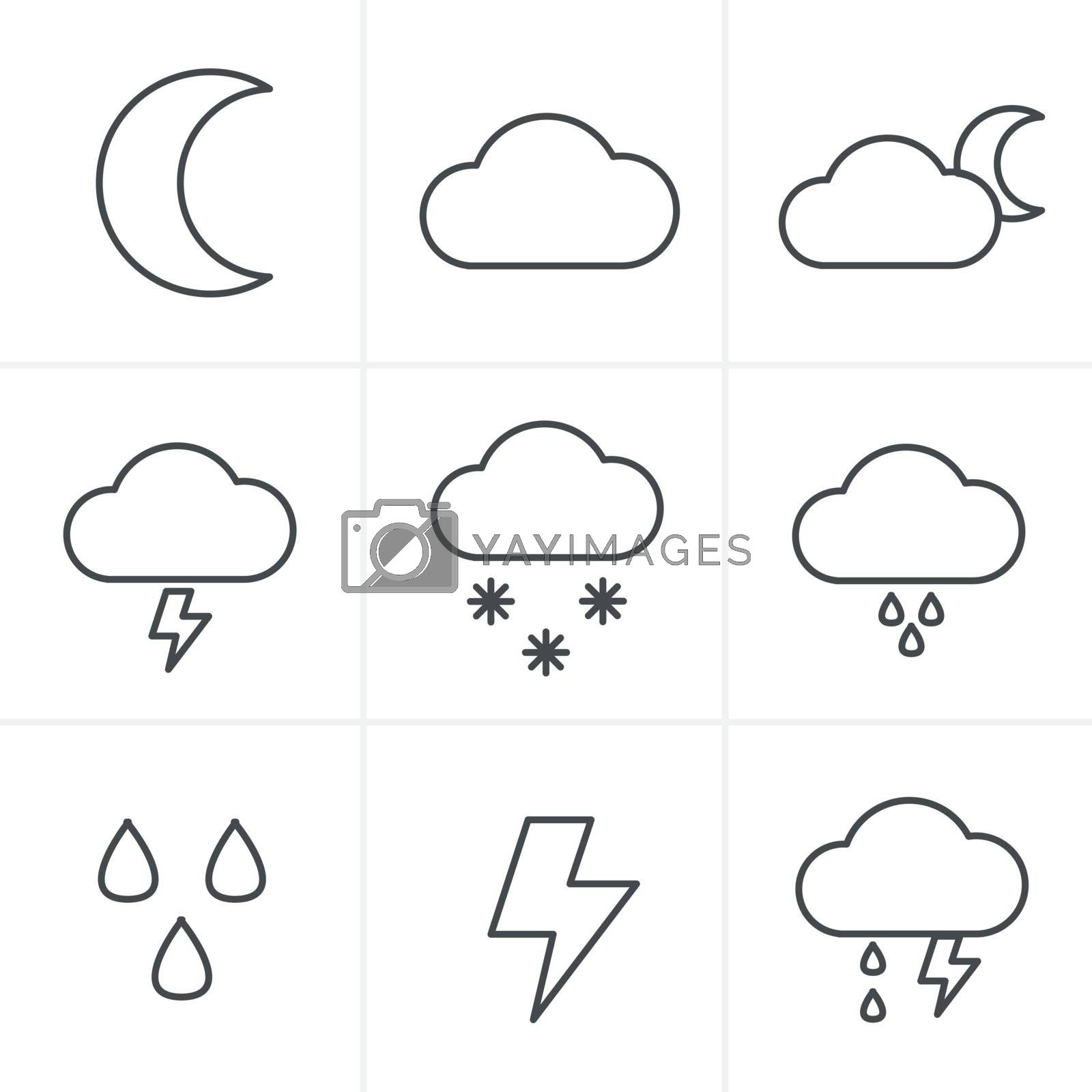 Line Icons Style Weather icons on white background