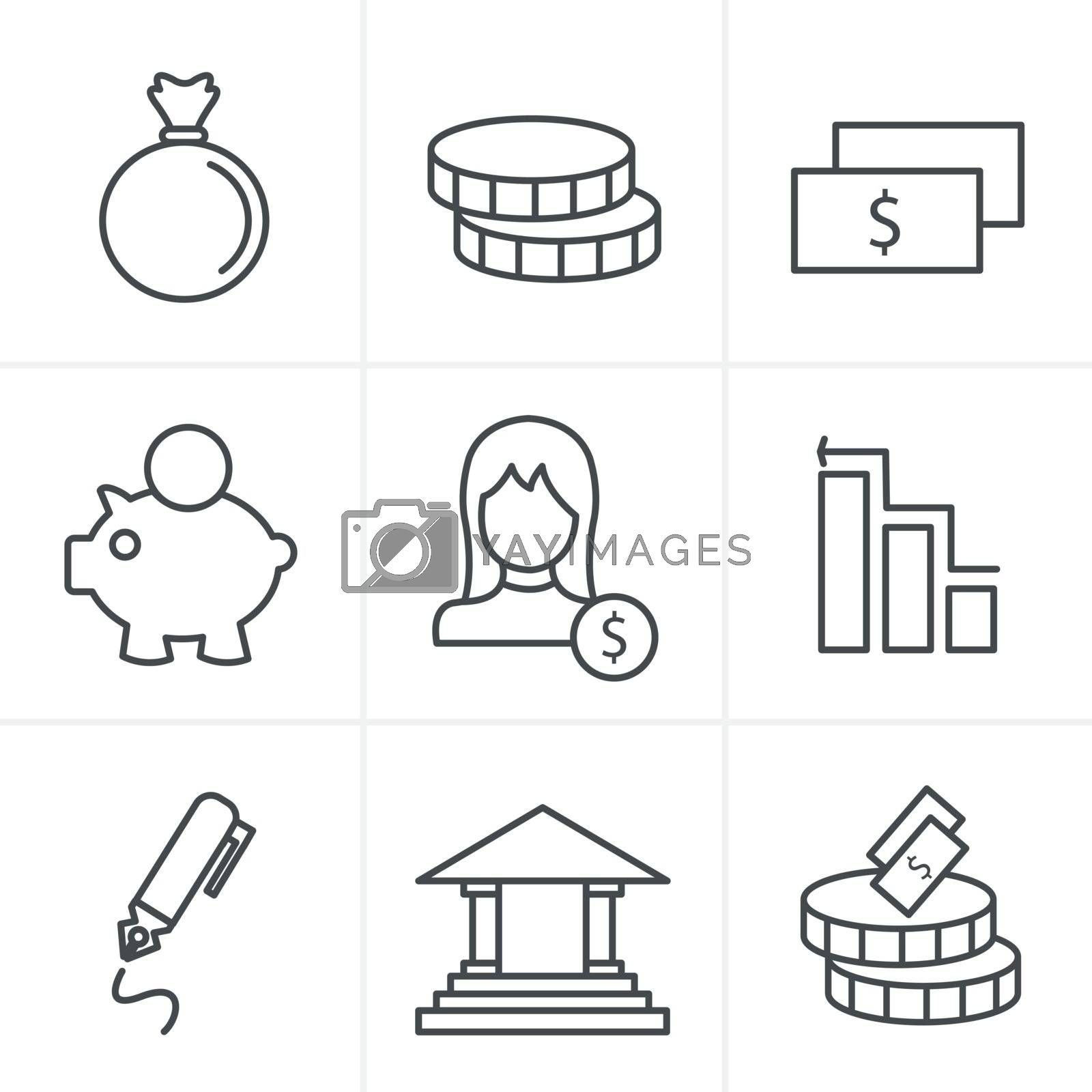 Line Icons Style banking icons