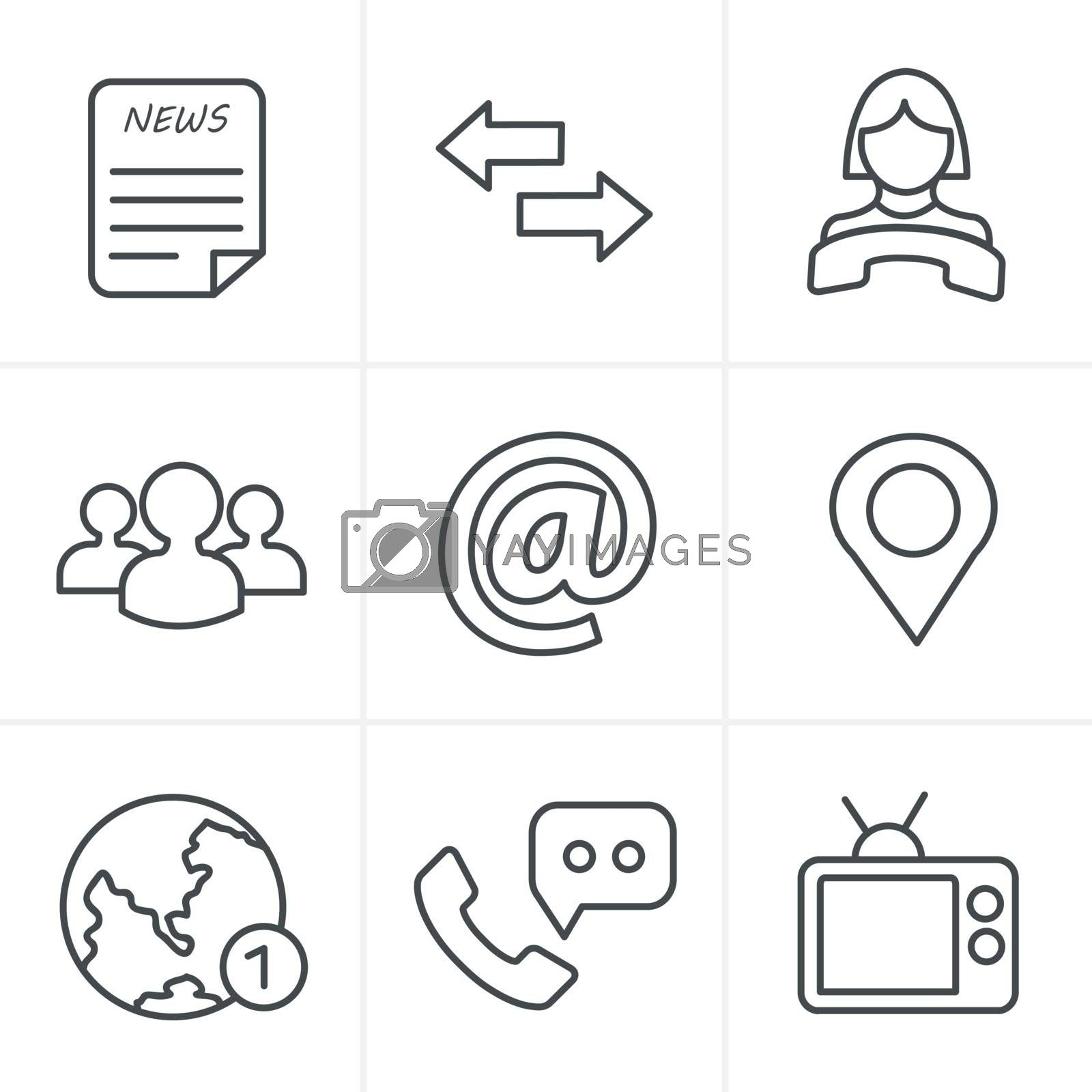 Line Icons Style Media and communication icons