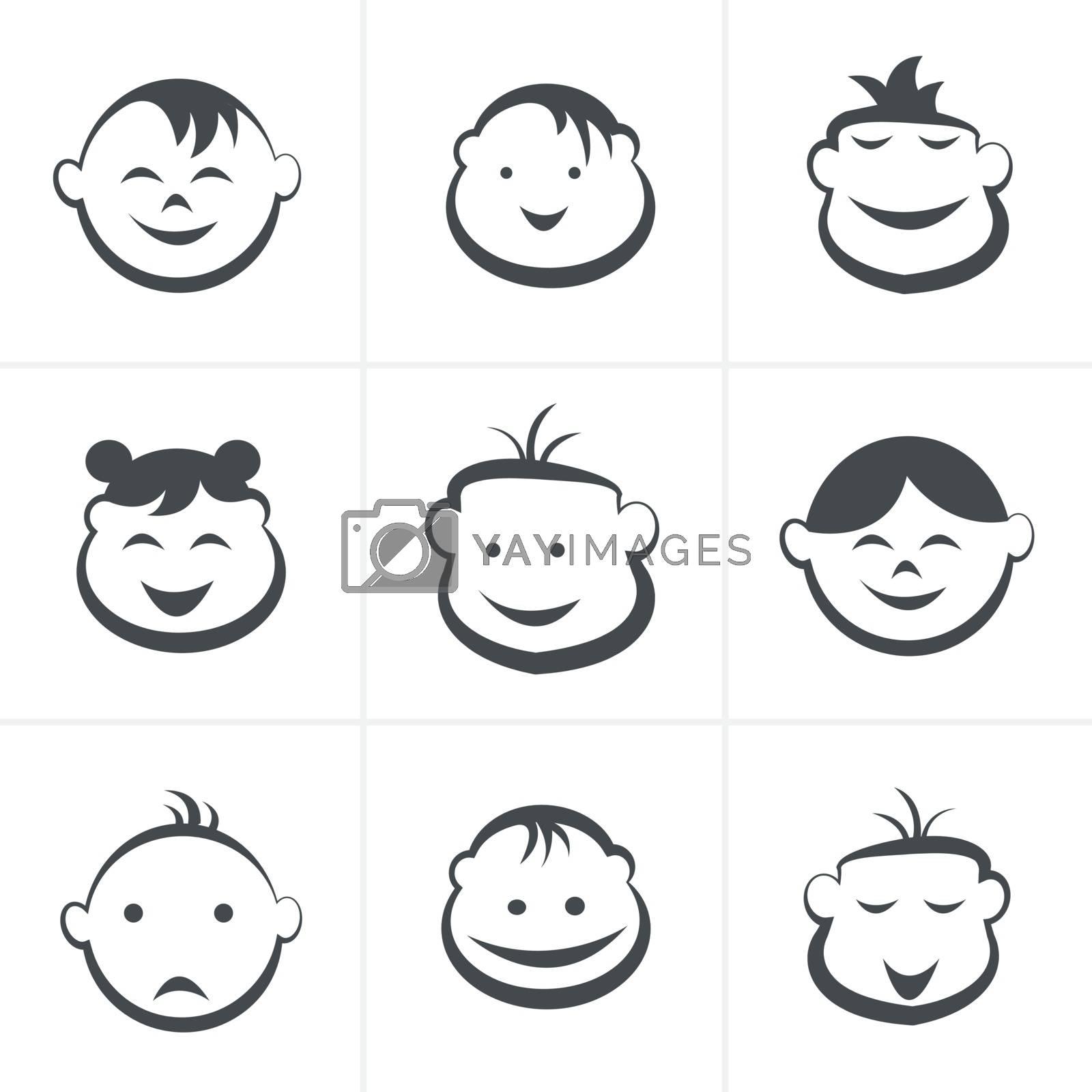 Kids icons set, boys and girls, children symbols, vector illustration