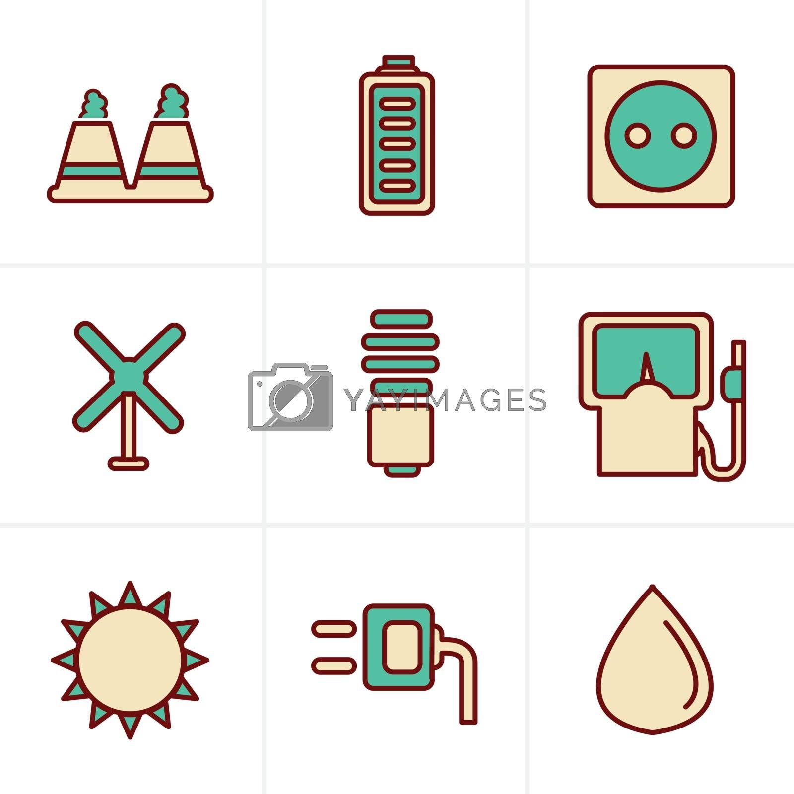 Icons Style Icons Style  vector black eco energy icons set on gray
