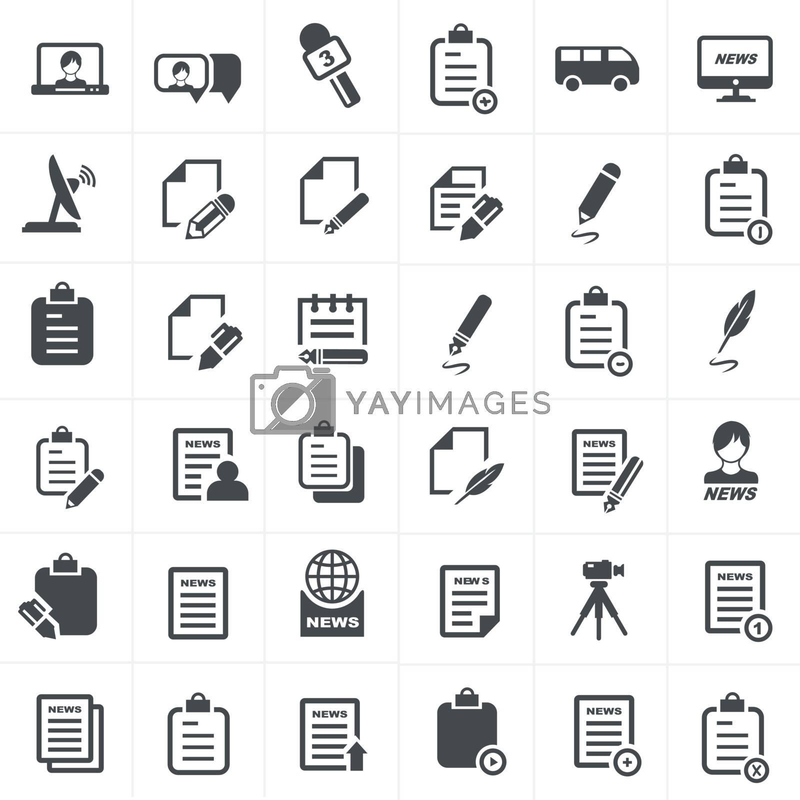write and news icon set.