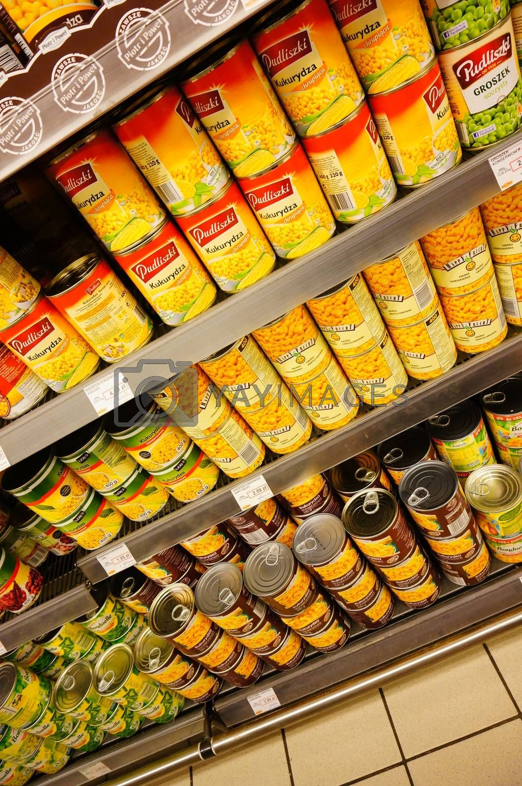 POZNAN, POLAND - JANUARY 27, 2014: Vegetables in cans in a supermarket