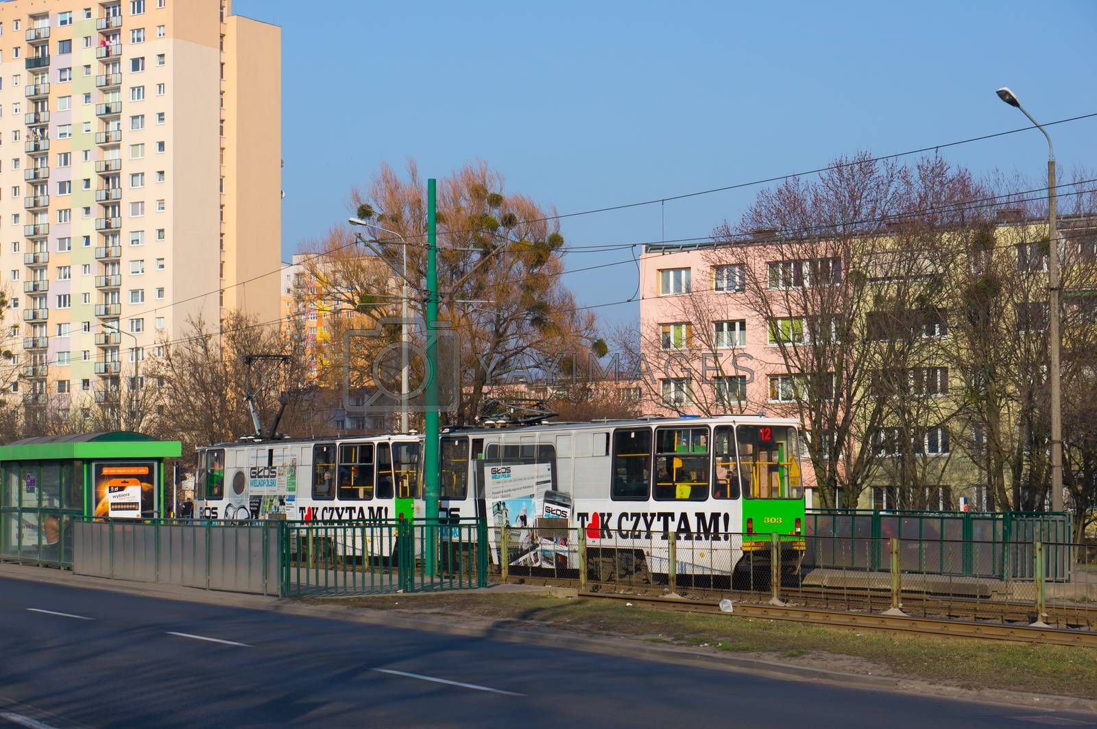 POZNAN, POLAND - MARCH 09, 2014: Departing tram at the Zamenhofa street