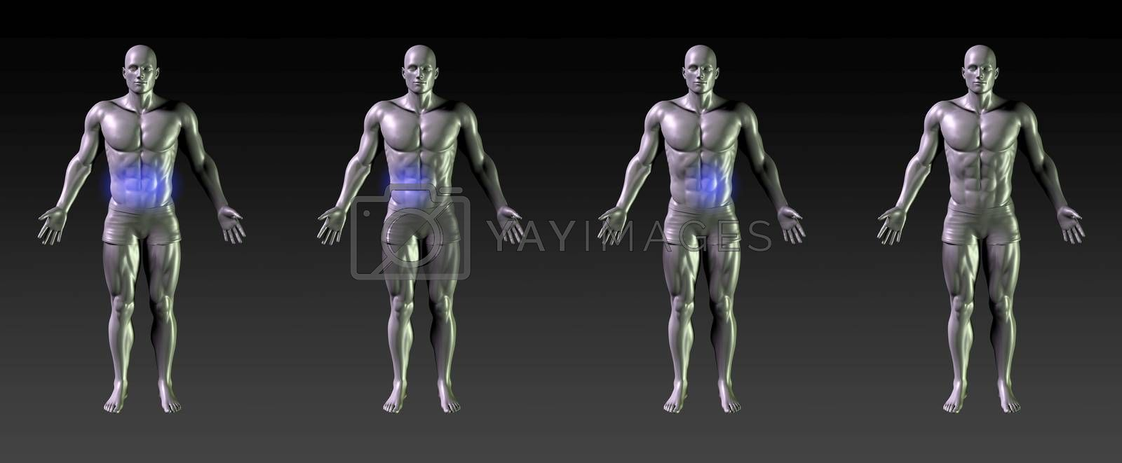 Abdominal Recovery or Rehabilitation with Blue Glow